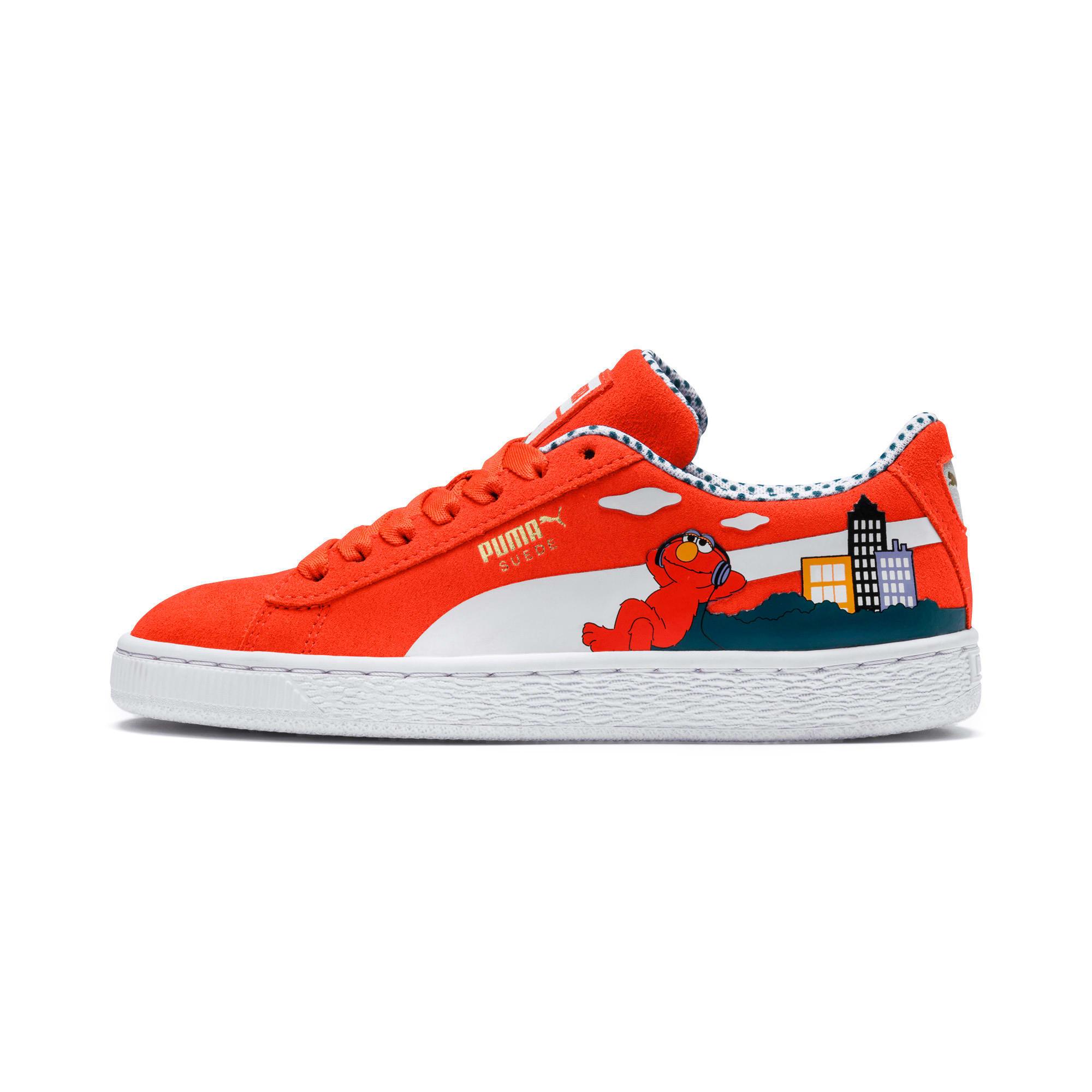 Thumbnail 1 of Sesame Street 50 Suede Little Kids' Shoes, Cherry Tomato-Puma White, medium