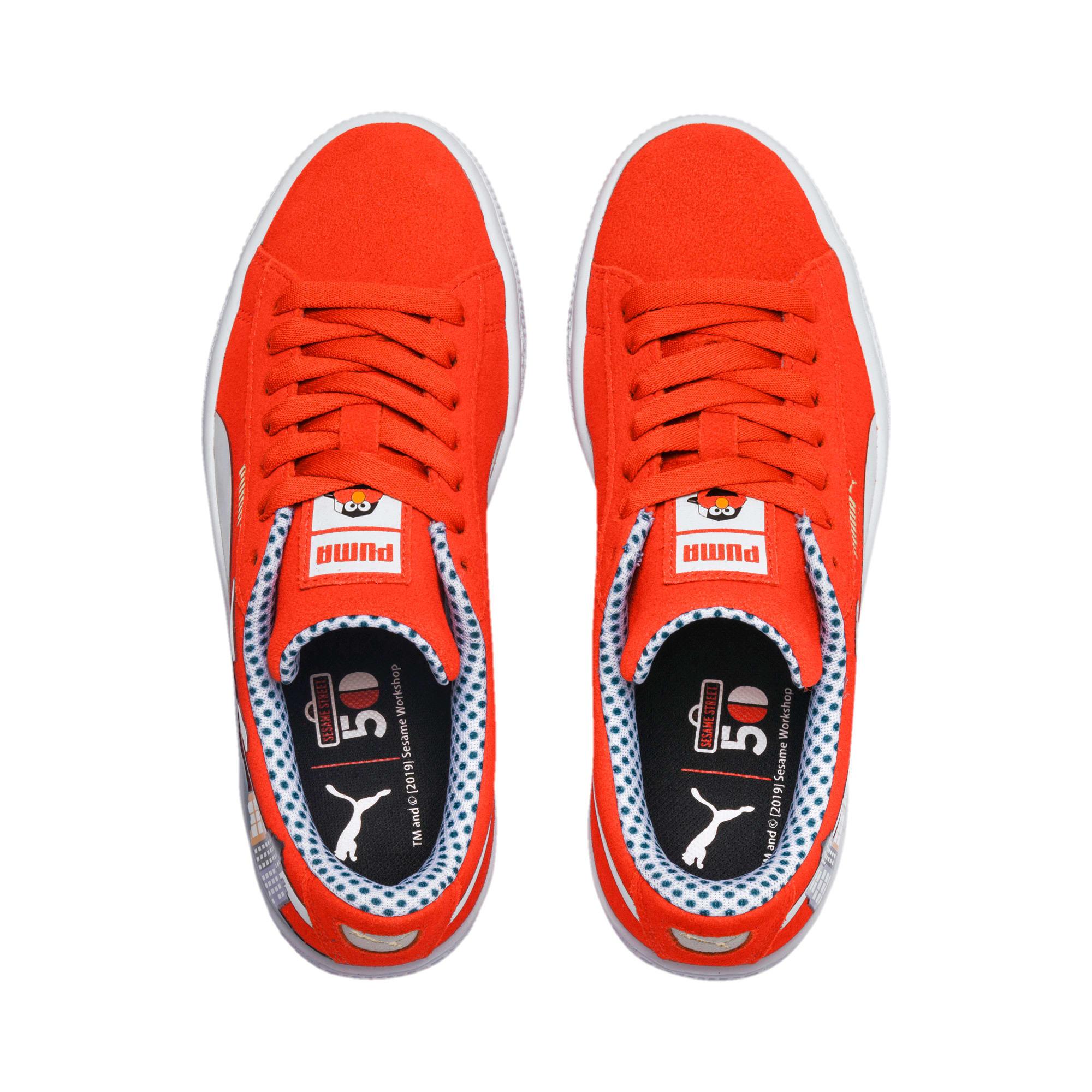 Thumbnail 6 of Sesame Street 50 Suede Little Kids' Shoes, Cherry Tomato-Puma White, medium