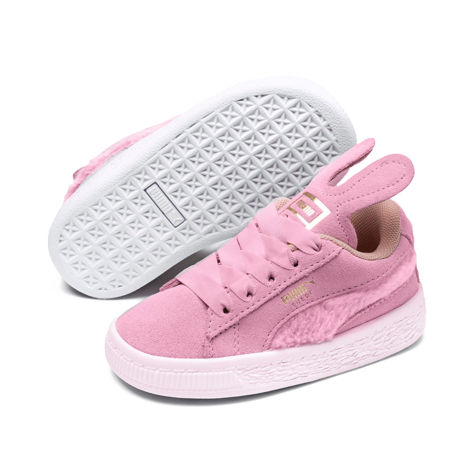 Suede Easter Alternate Closure Baby Sneaker, Pale Pink-Coral Cloud, large