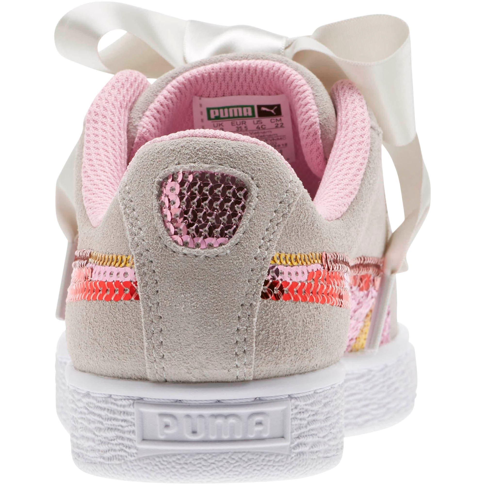 Thumbnail 4 of Suede Heart Trailblazer Sequin Sneakers JR, Gray Violet-Pale Pink, medium