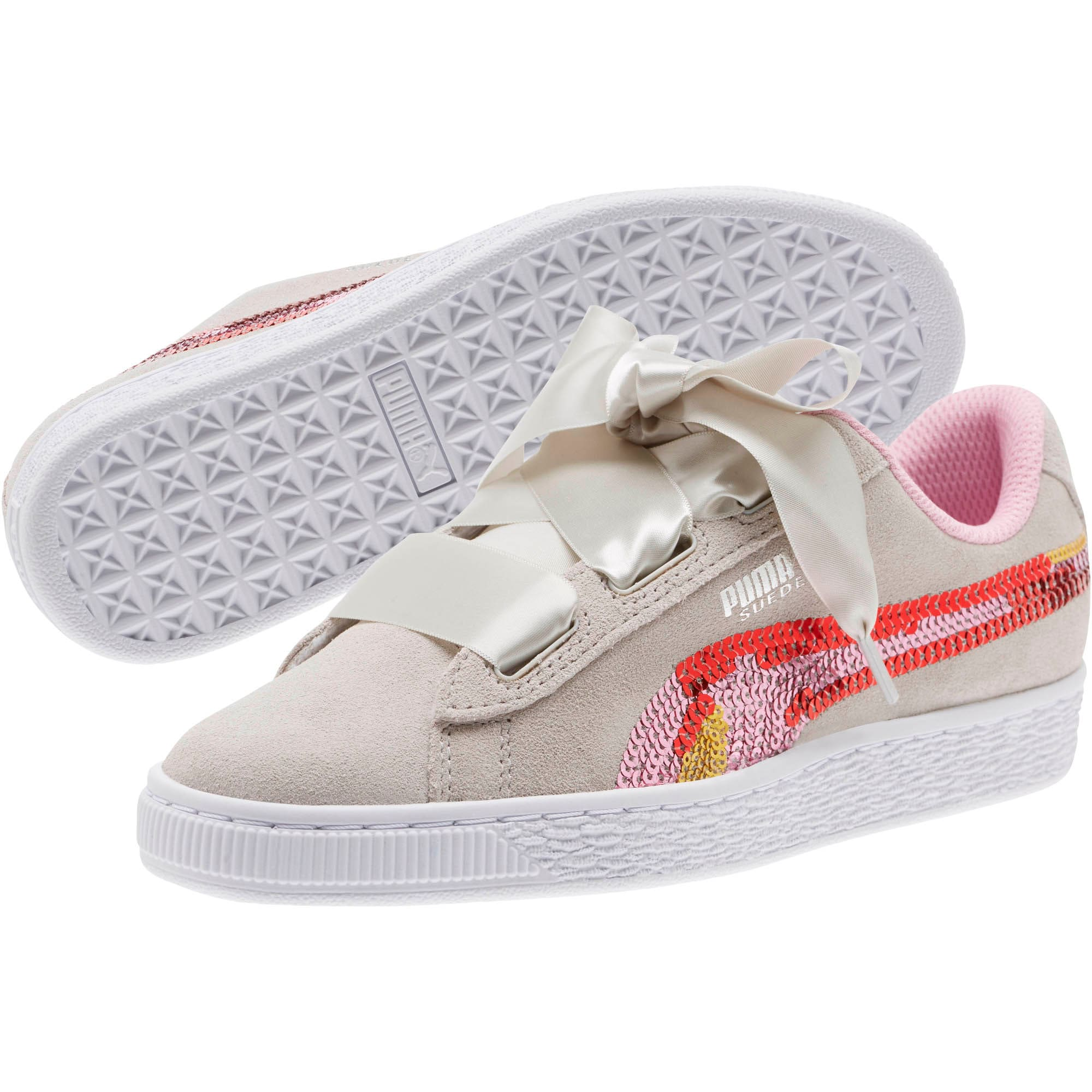 Thumbnail 2 of Suede Heart Trailblazer Sequin Sneakers JR, Gray Violet-Pale Pink, medium