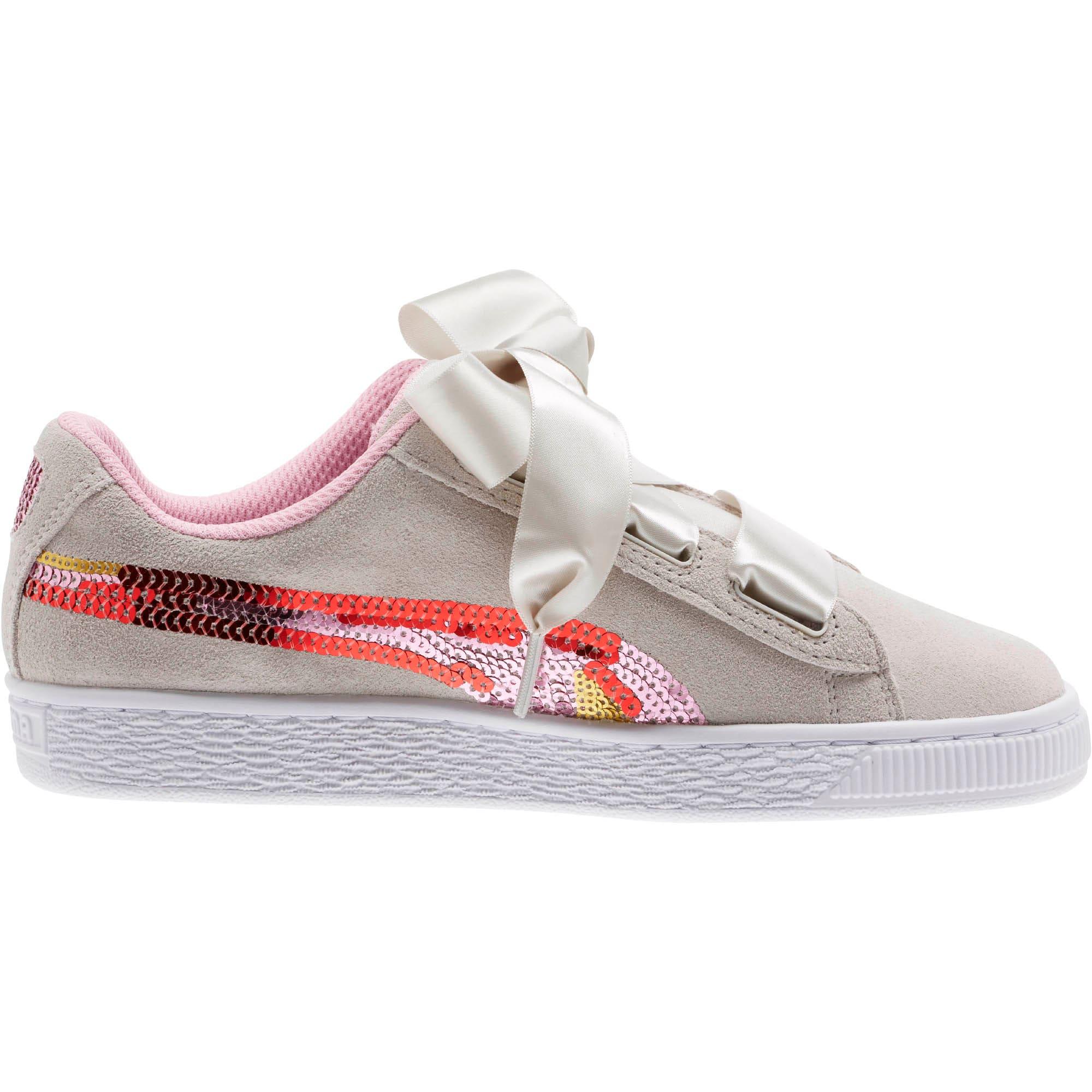 Thumbnail 3 of Suede Heart Trailblazer Sequin Sneakers JR, Gray Violet-Pale Pink, medium