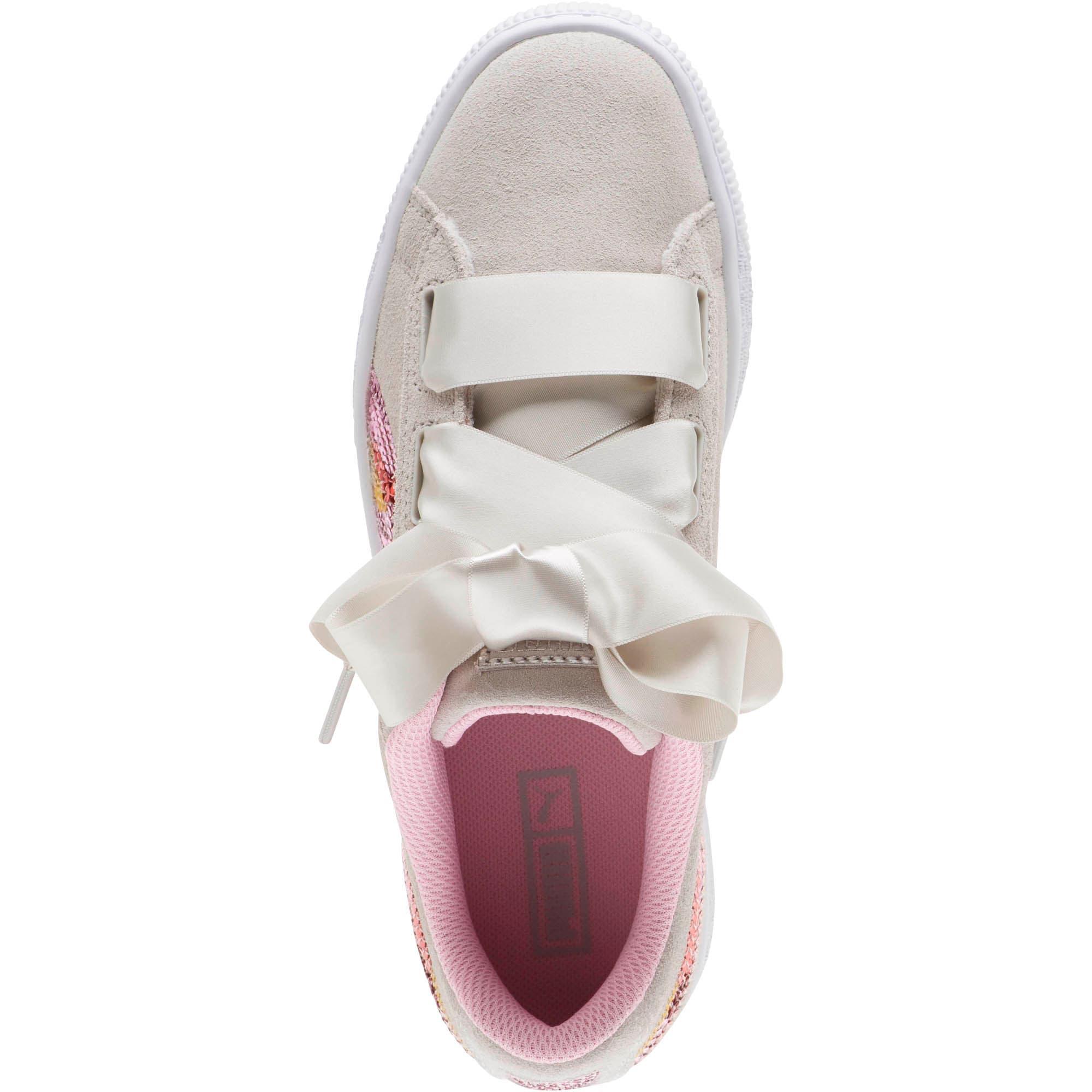 Thumbnail 5 of Suede Heart Trailblazer Sequin Sneakers JR, Gray Violet-Pale Pink, medium
