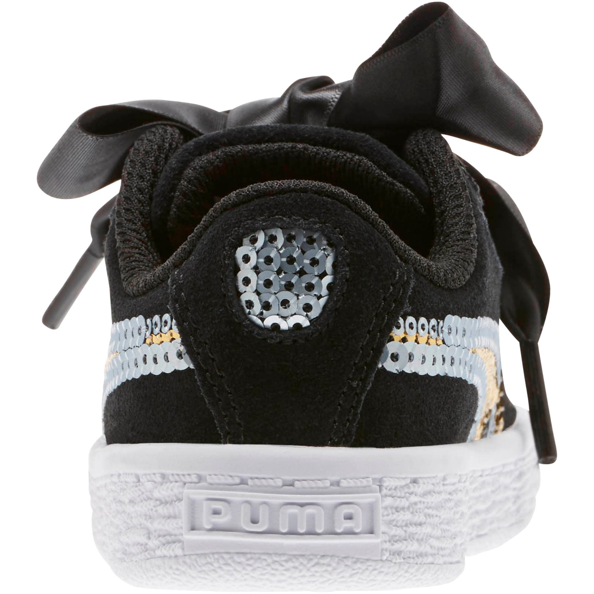 Thumbnail 4 of Suede Heart Trailblazer Sequin Little Kids' Shoes, Puma Black-Puma Team Gold, medium