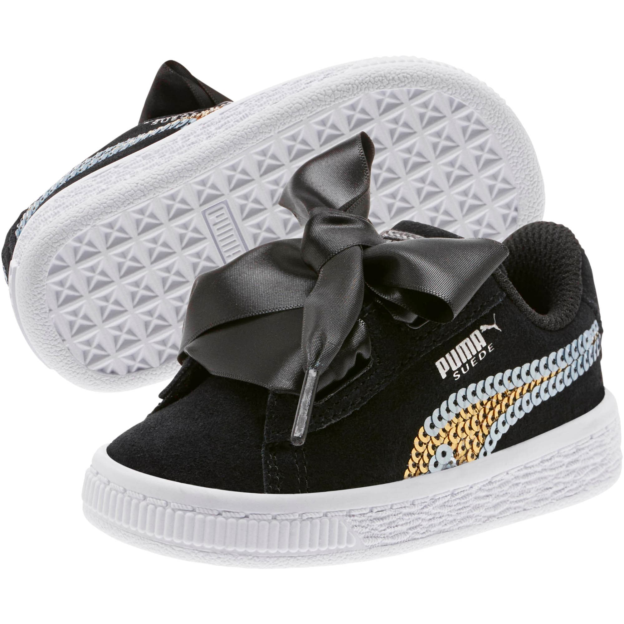Thumbnail 2 of Suede Heart Trailblazer Sequin Little Kids' Shoes, Puma Black-Puma Team Gold, medium