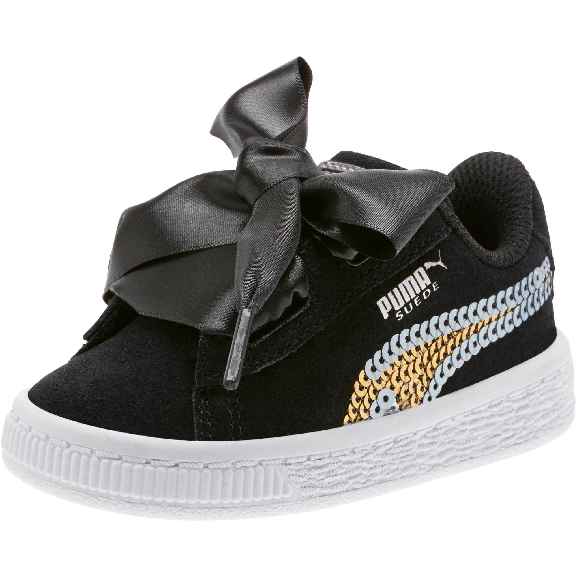 Thumbnail 1 of Suede Heart Trailblazer Sequin Little Kids' Shoes, Puma Black-Puma Team Gold, medium