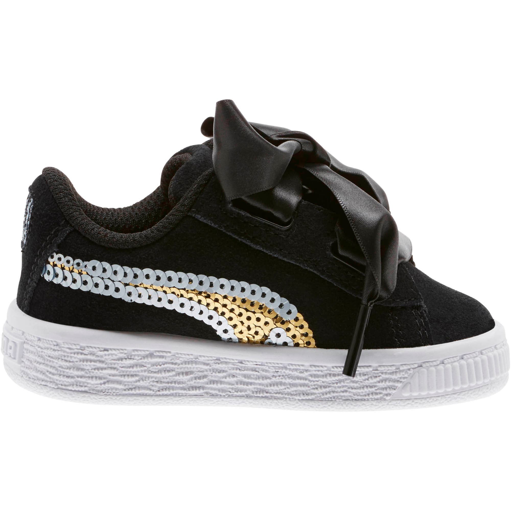 Thumbnail 3 of Suede Heart Trailblazer Sequin Little Kids' Shoes, Puma Black-Puma Team Gold, medium