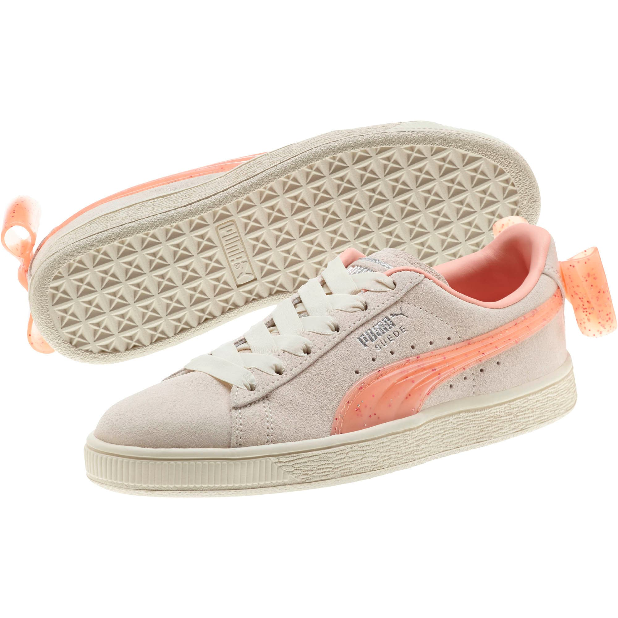 Miniatura 2 de Zapatos deportivos Suede Jelly Bow JR, Whis White-Peach Bud-Silver, mediano