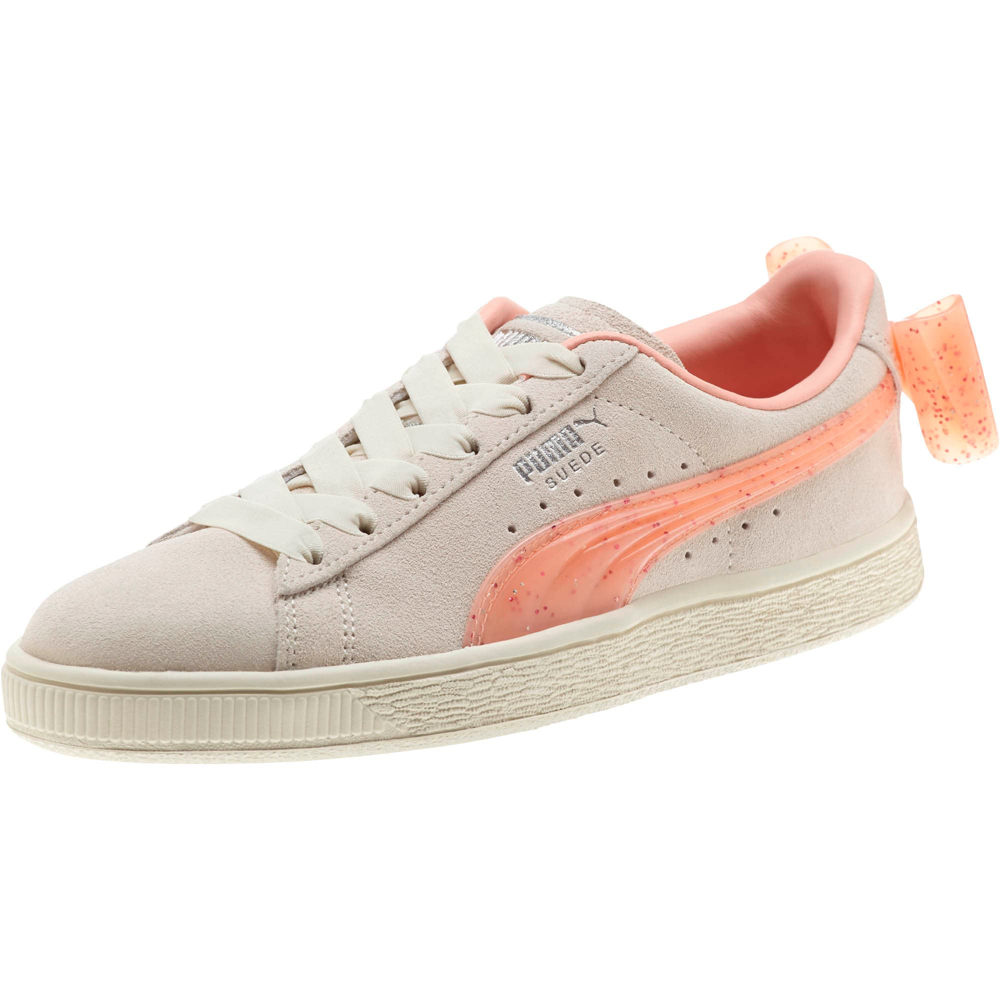 Miniatura 1 de Zapatos deportivos Suede Jelly Bow JR, Whis White-Peach Bud-Silver, mediano