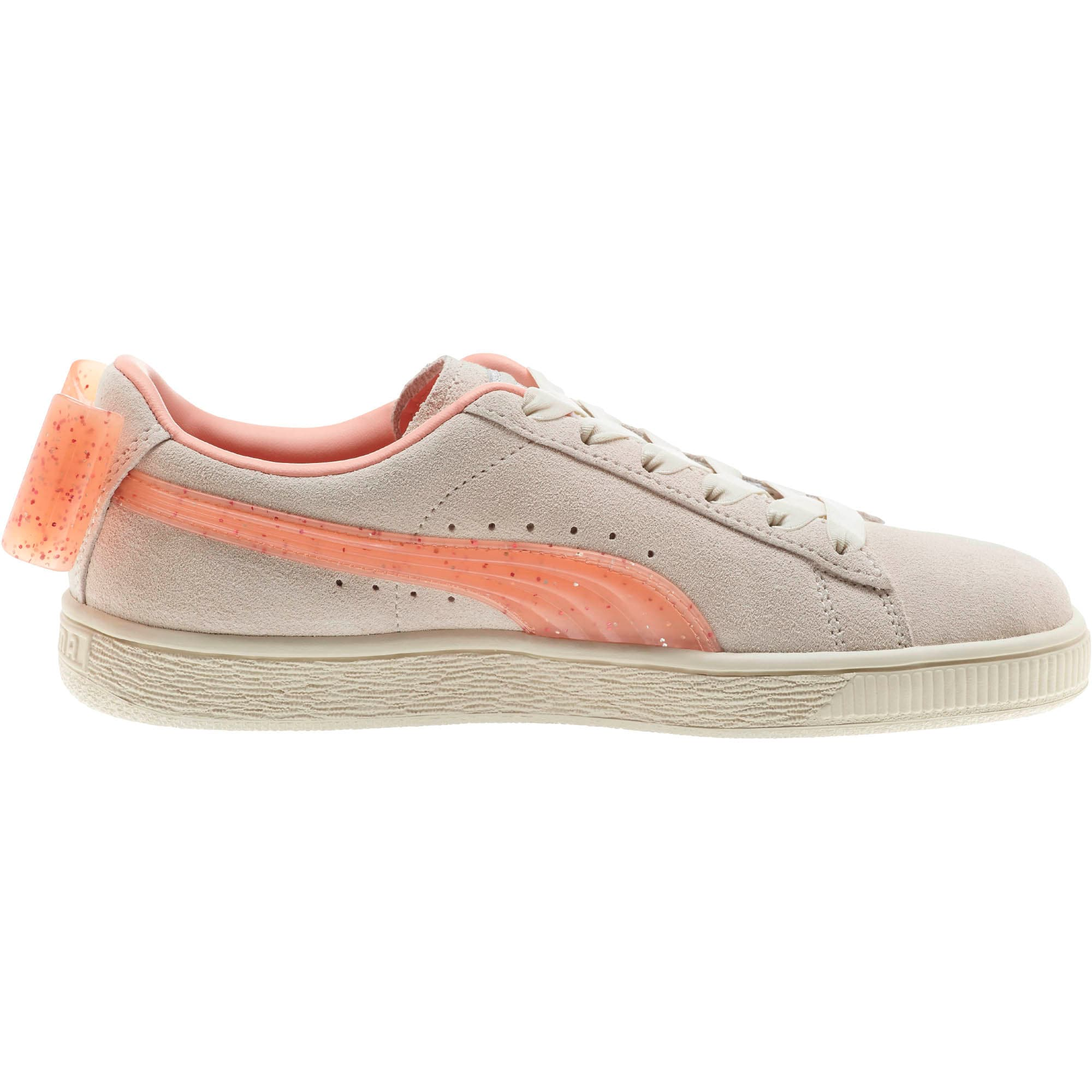 Miniatura 4 de Zapatos deportivos Suede Jelly Bow JR, Whis White-Peach Bud-Silver, mediano