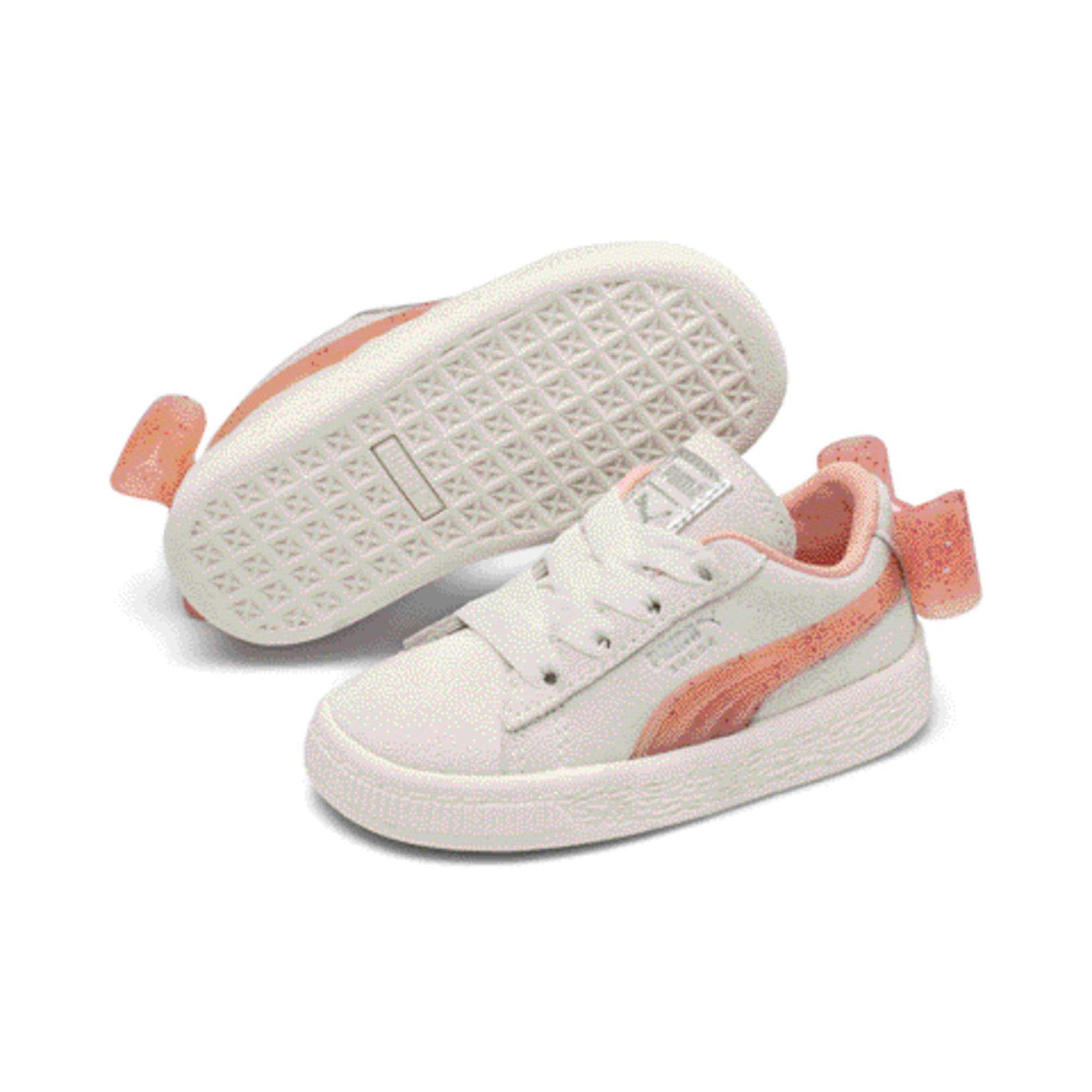 Miniatura 2 de Zapatos Suede Jelly Bow AC para bebé, White-Peach Bud-Silver, mediano