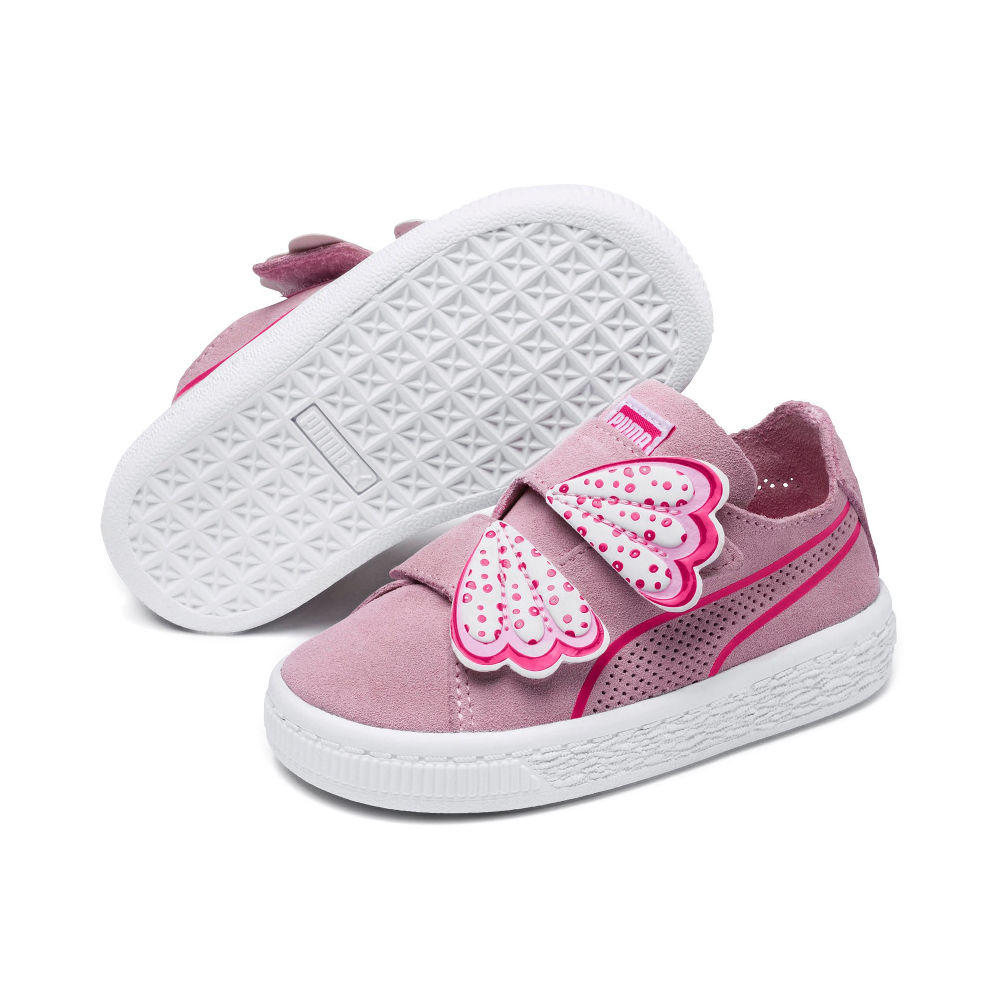 Thumbnail 2 of Suede Deconstruct Butterfly Toddler Shoes, Pale Pink-Fuchsia Purple, medium