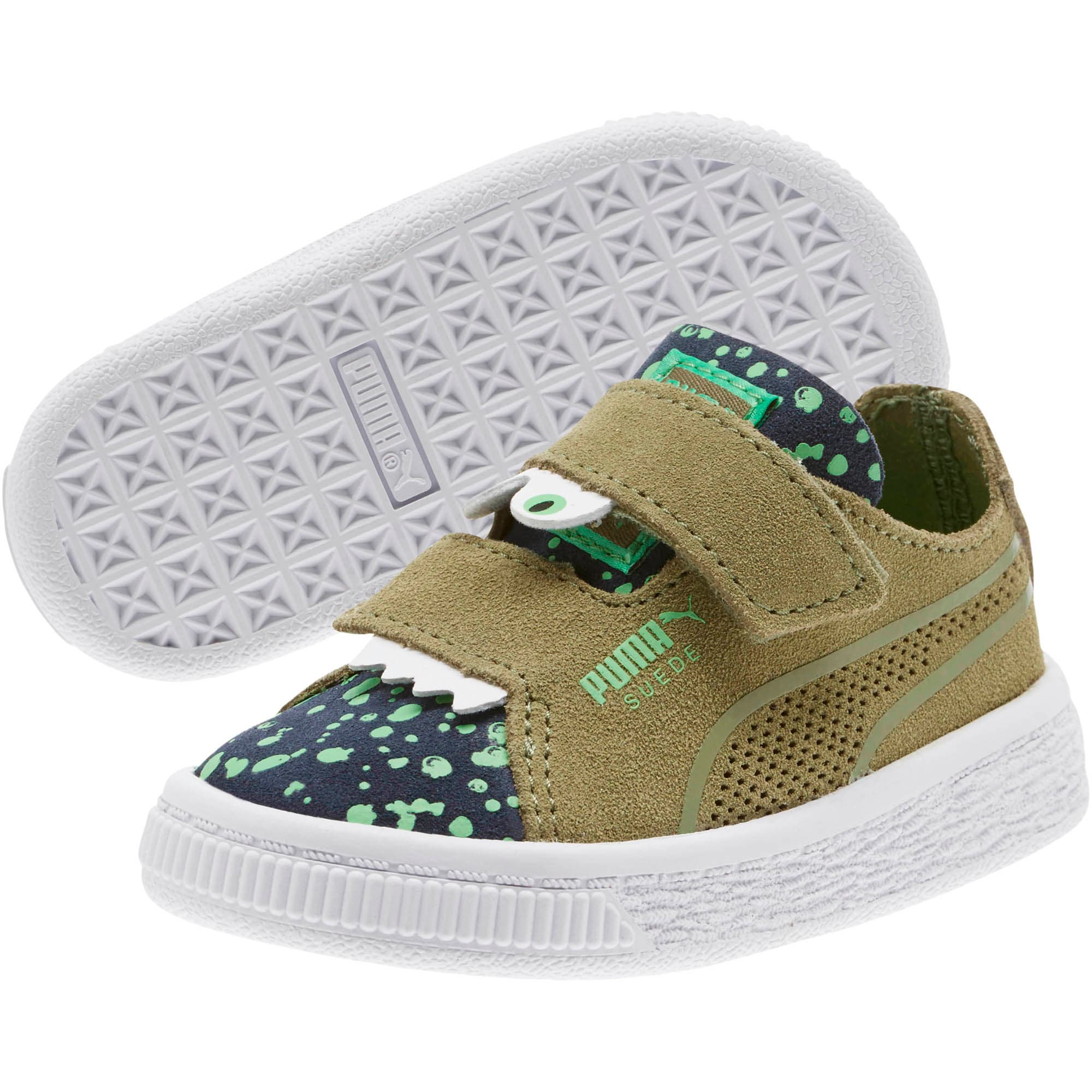 Thumbnail 2 of Suede Deconstruct Monster Toddler Shoes, Olivine-Peacoat-Irish Green, medium