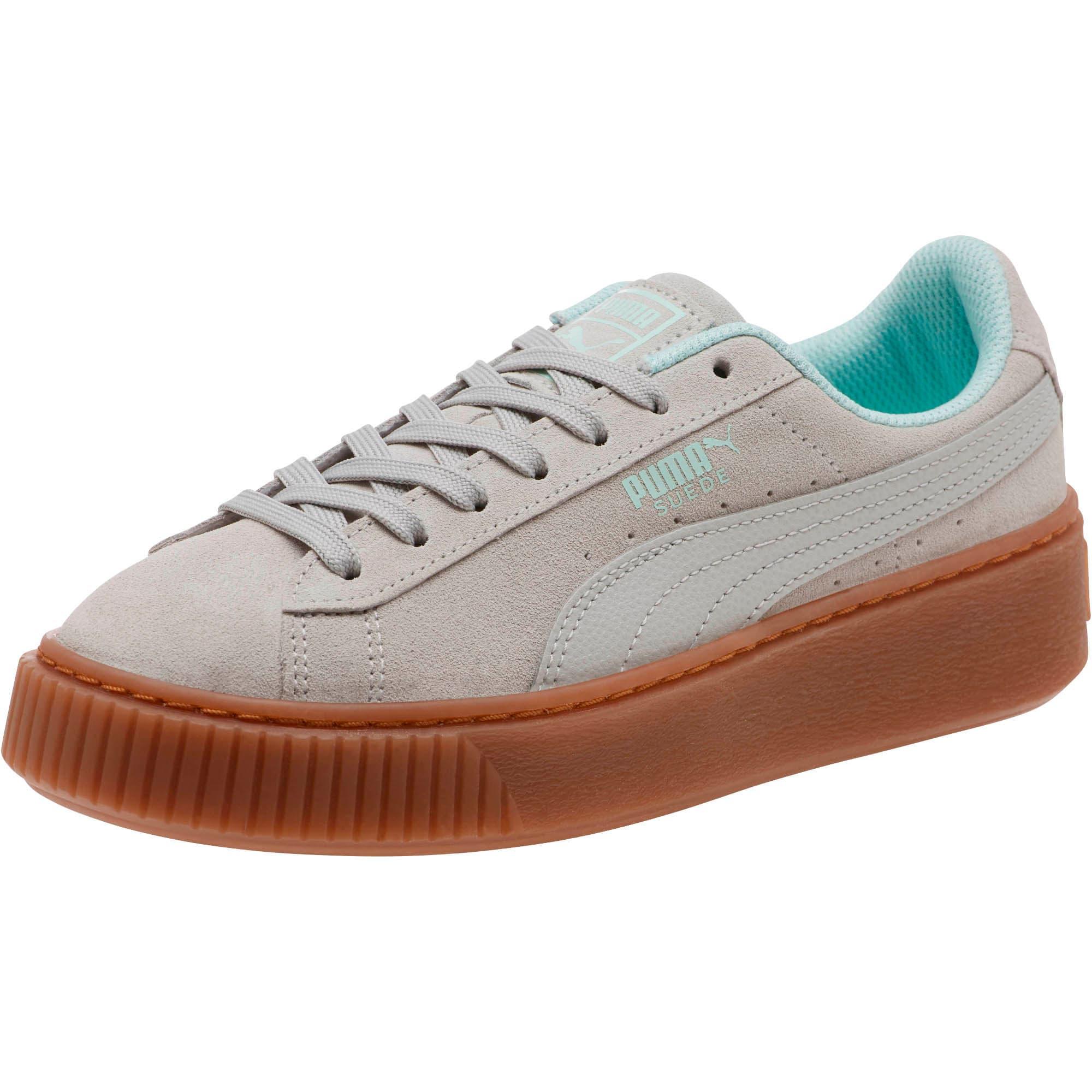 Thumbnail 1 of Suede Platform Radicals Sneakers JR, Gray Violet-Fair Aqua, medium