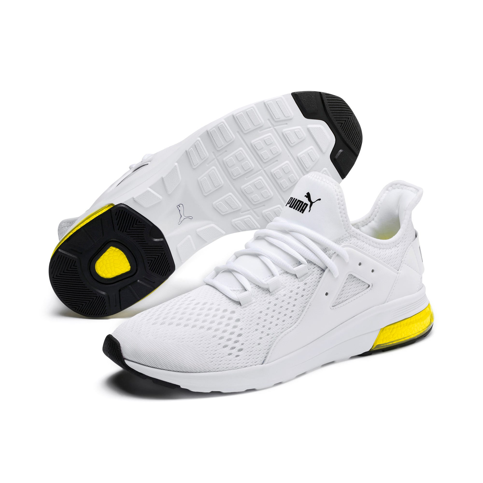 Thumbnail 2 of Electron Street Eng Mesh, Puma White-Puma Black-Yellow, medium