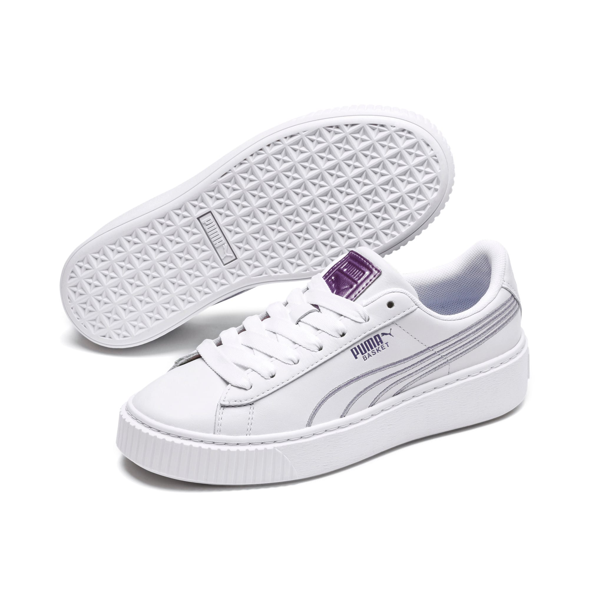 puma basket platform core white & gum shoes NWT