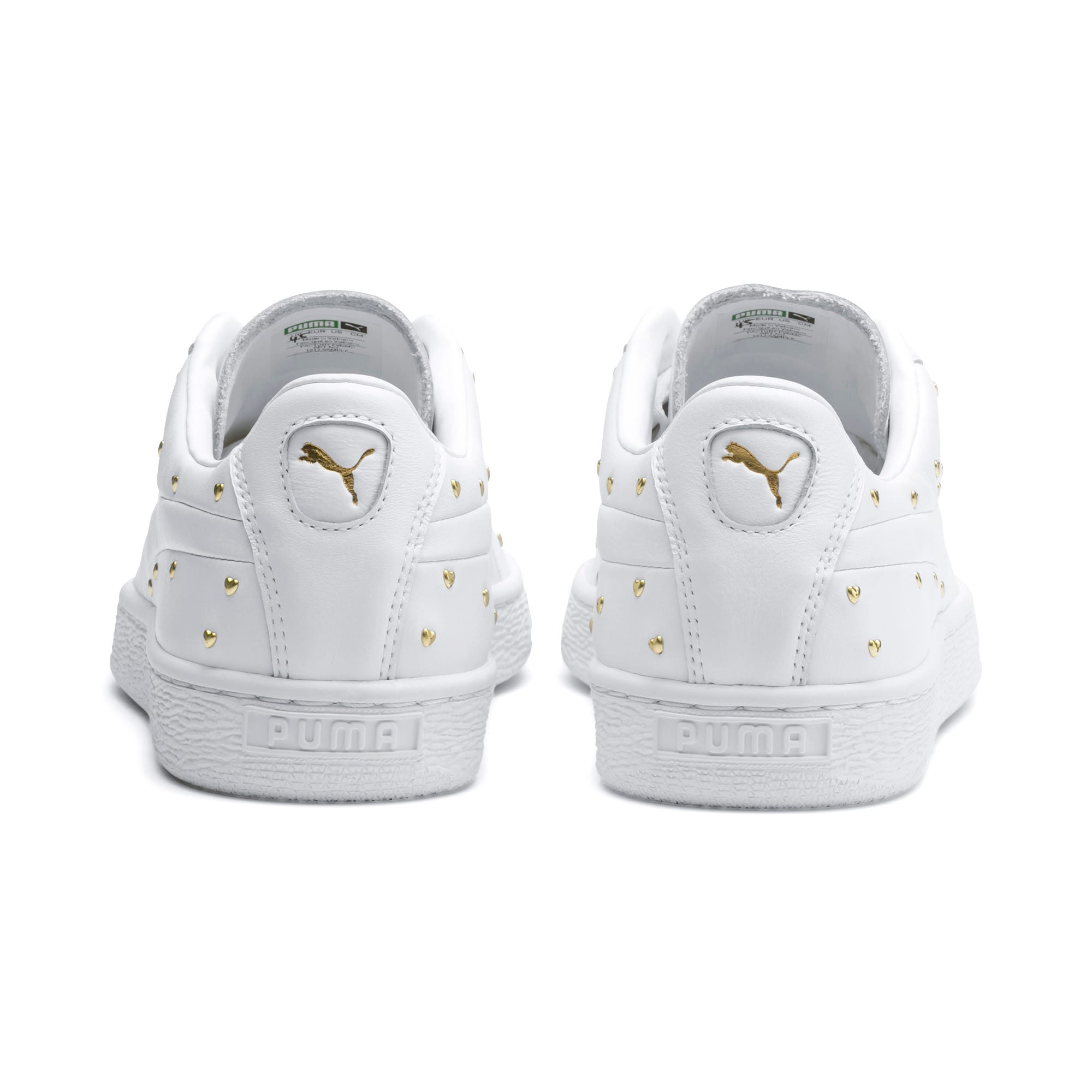 Thumbnail 4 of Basket Studs Women's Trainers, Puma White-Puma Team Gold, medium
