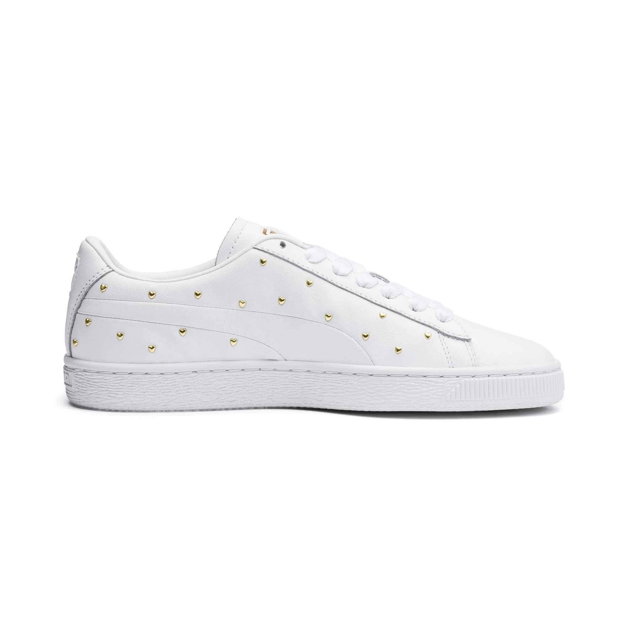 Thumbnail 6 of Basket Studs Women's Trainers, Puma White-Puma Team Gold, medium