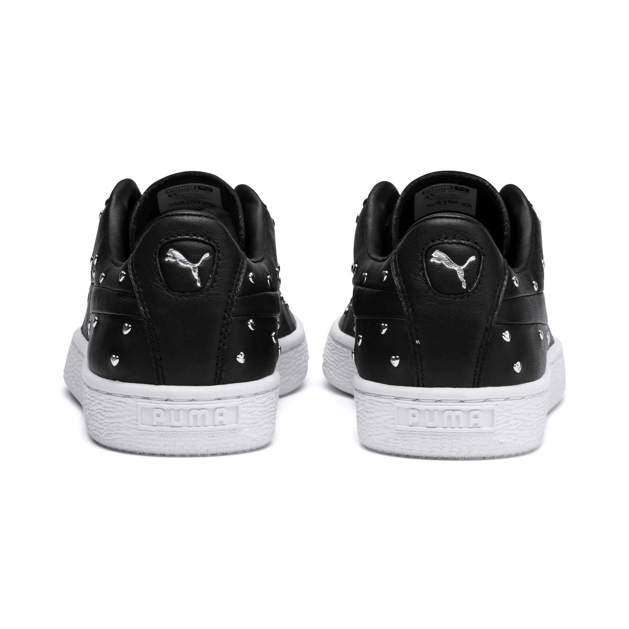 Thumbnail 4 of Basket Studs Women's Sneakers, Puma Black-Puma Silver, medium