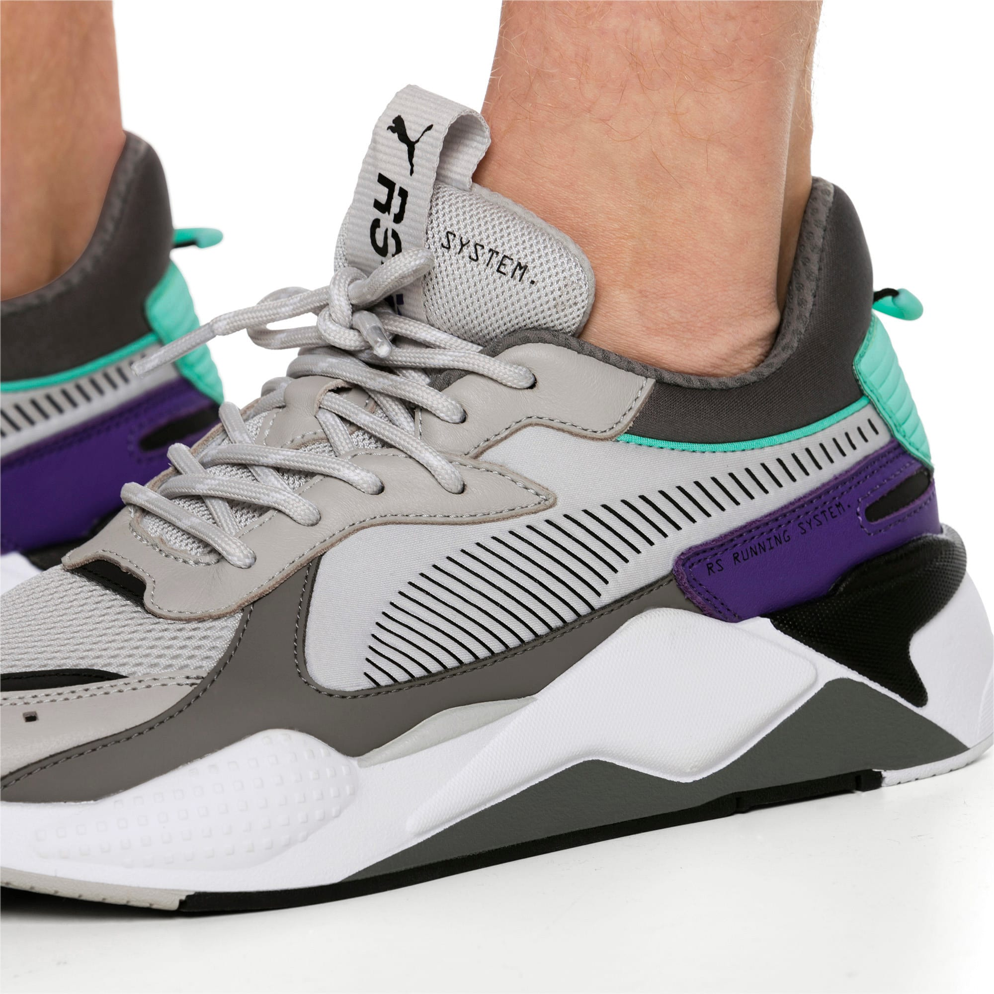 Thumbnail 3 of RS-X Tracks Trainers, Gray Violet-Charcoal Gray, medium