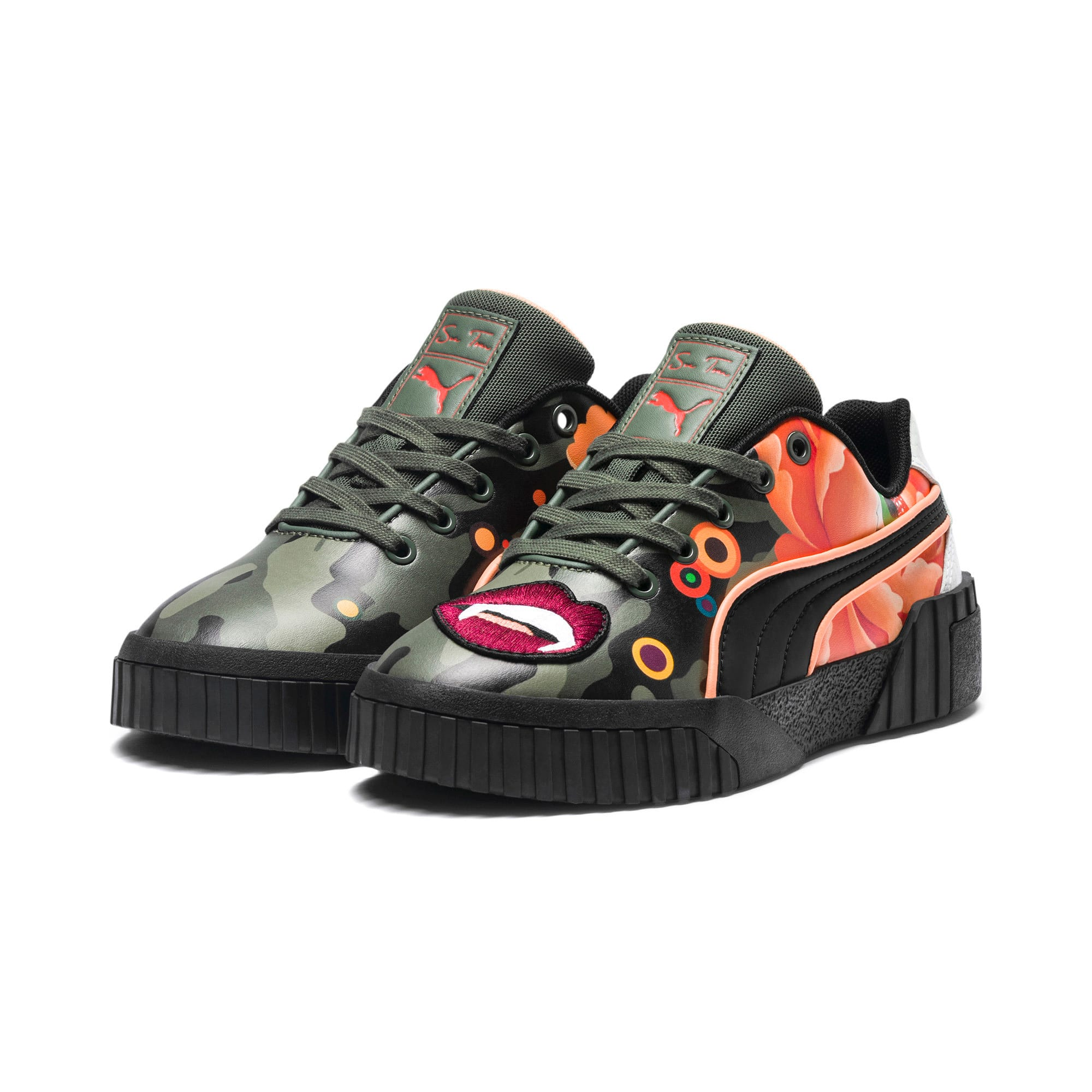 Thumbnail 3 of PUMA x SUE TSAI Cali 'Peonies Camo' Women's Sneakers, Puma Black-Puma Black, medium