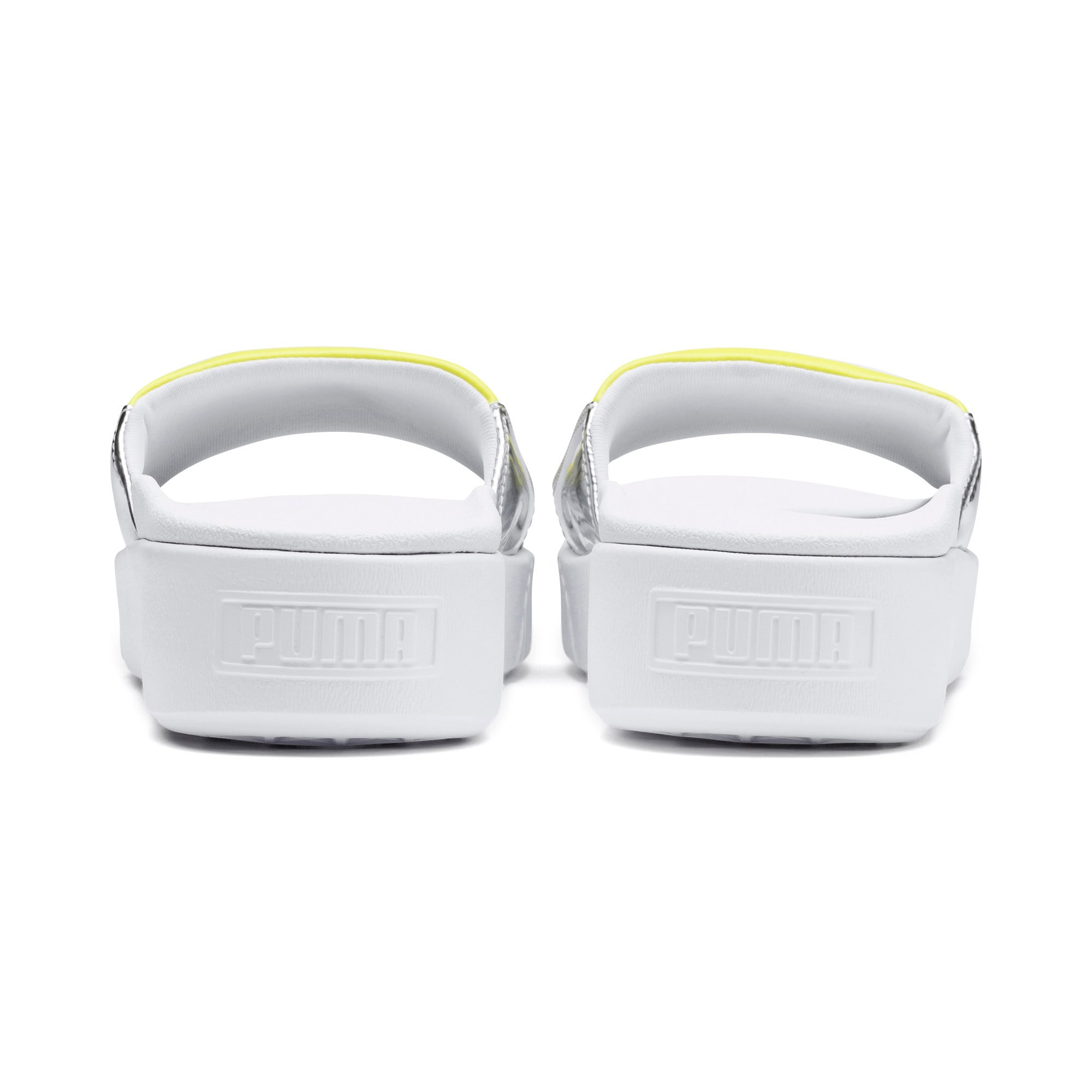 Thumbnail 3 of Platform Slide Trailblazer Metallic Women's Sandals, Puma White-Puma Silver, medium