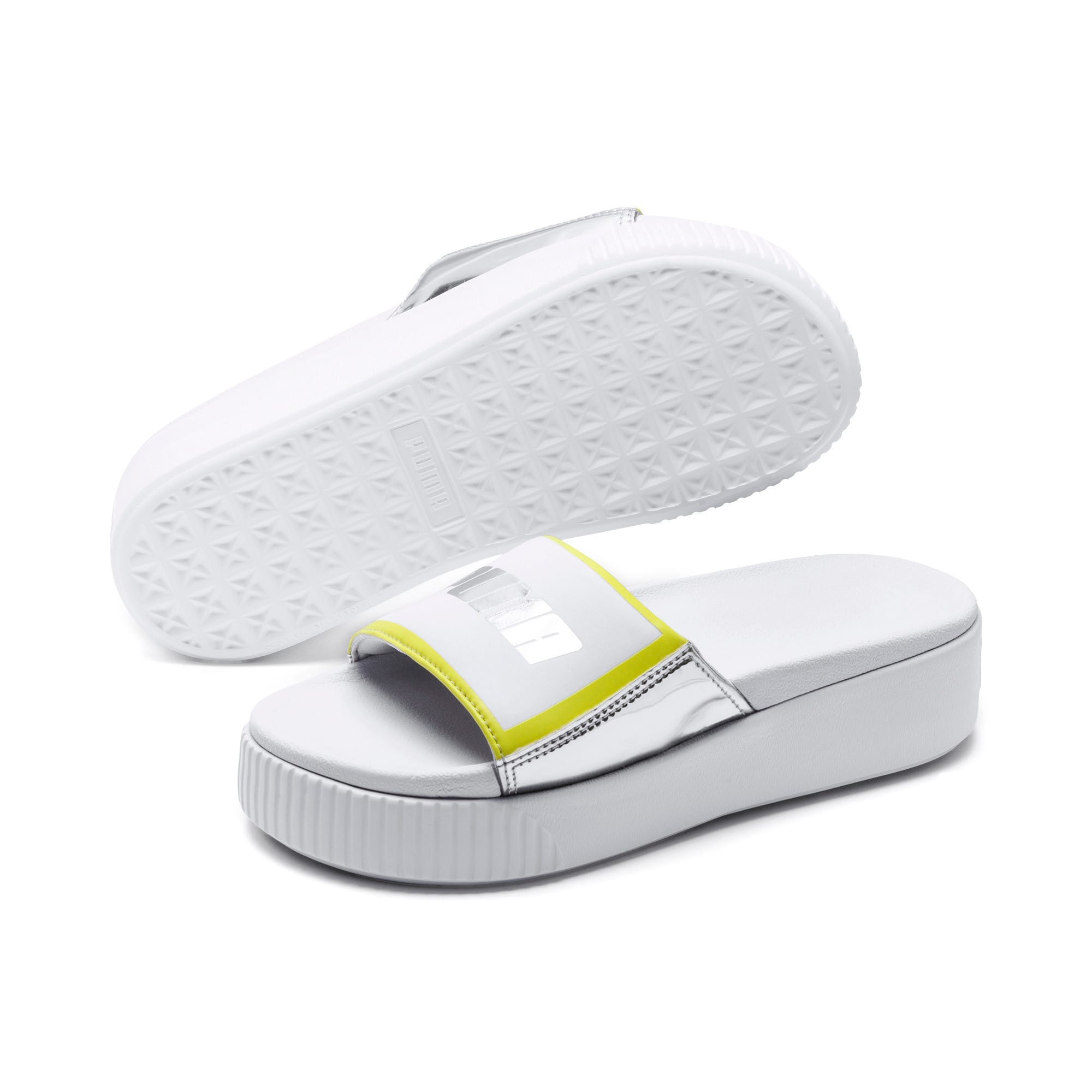 Thumbnail 2 of Platform Slide Trailblazer Metallic Women's Sandals, Puma White-Puma Silver, medium