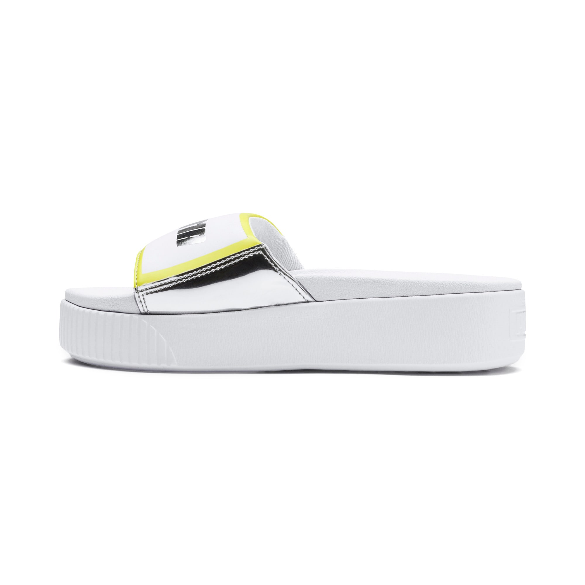 Thumbnail 1 of Platform Slide Trailblazer Metallic Women's Sandals, Puma White-Puma Silver, medium