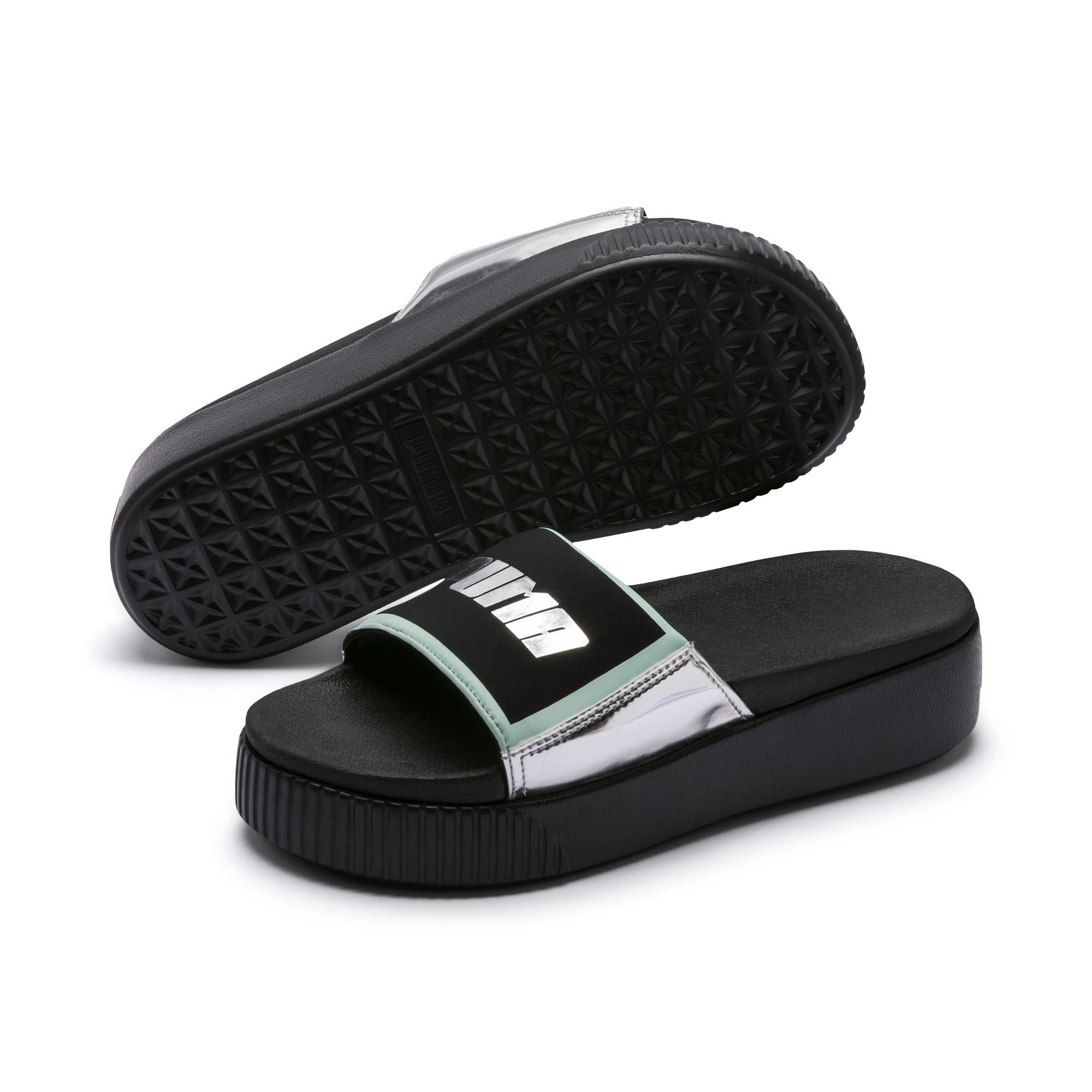 Thumbnail 2 of Platform Slide Trailblazer Metallic Damen Sandalen, Puma Black-Puma Silver, medium