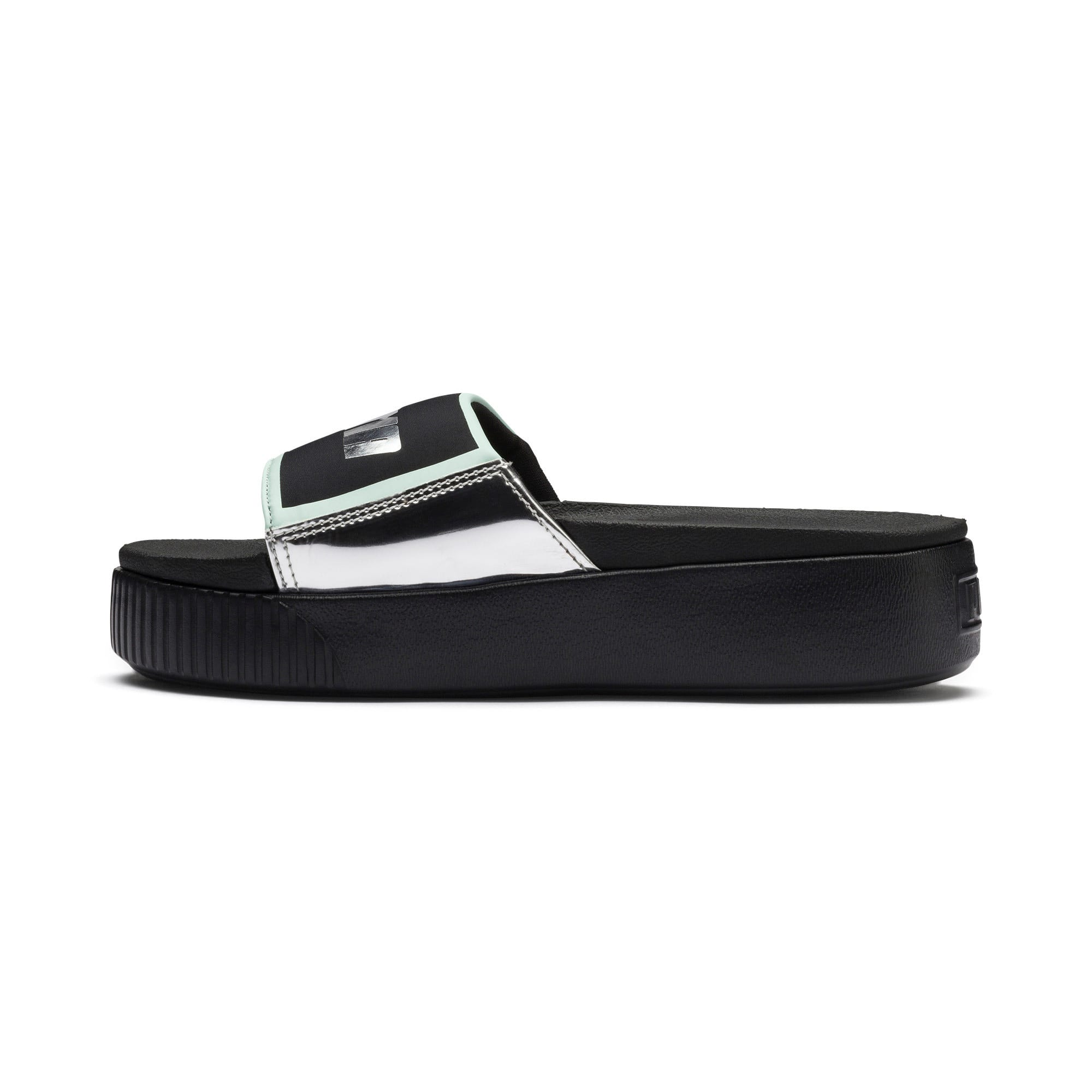 Thumbnail 1 of Platform Slide Trailblazer Metallic Damen Sandalen, Puma Black-Puma Silver, medium