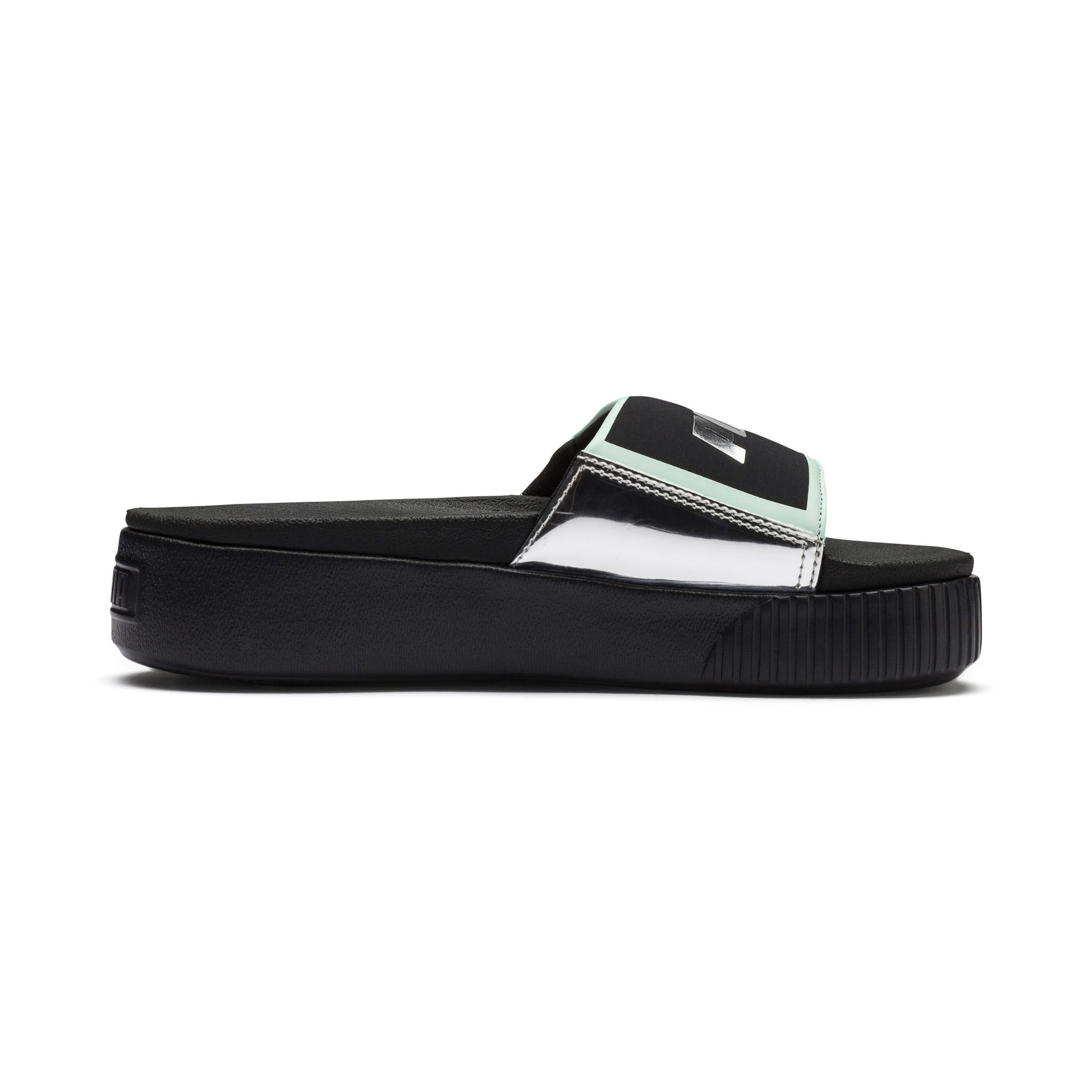 Thumbnail 5 of Platform Slide Trailblazer Metallic Damen Sandalen, Puma Black-Puma Silver, medium
