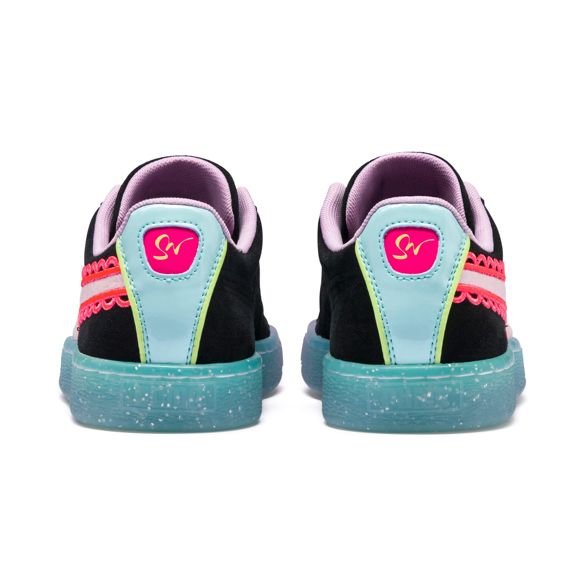 Thumbnail 4 of PUMA x SOPHIA WEBSTER Suede Women's Sneakers, Puma Black-Fiery Coral, medium