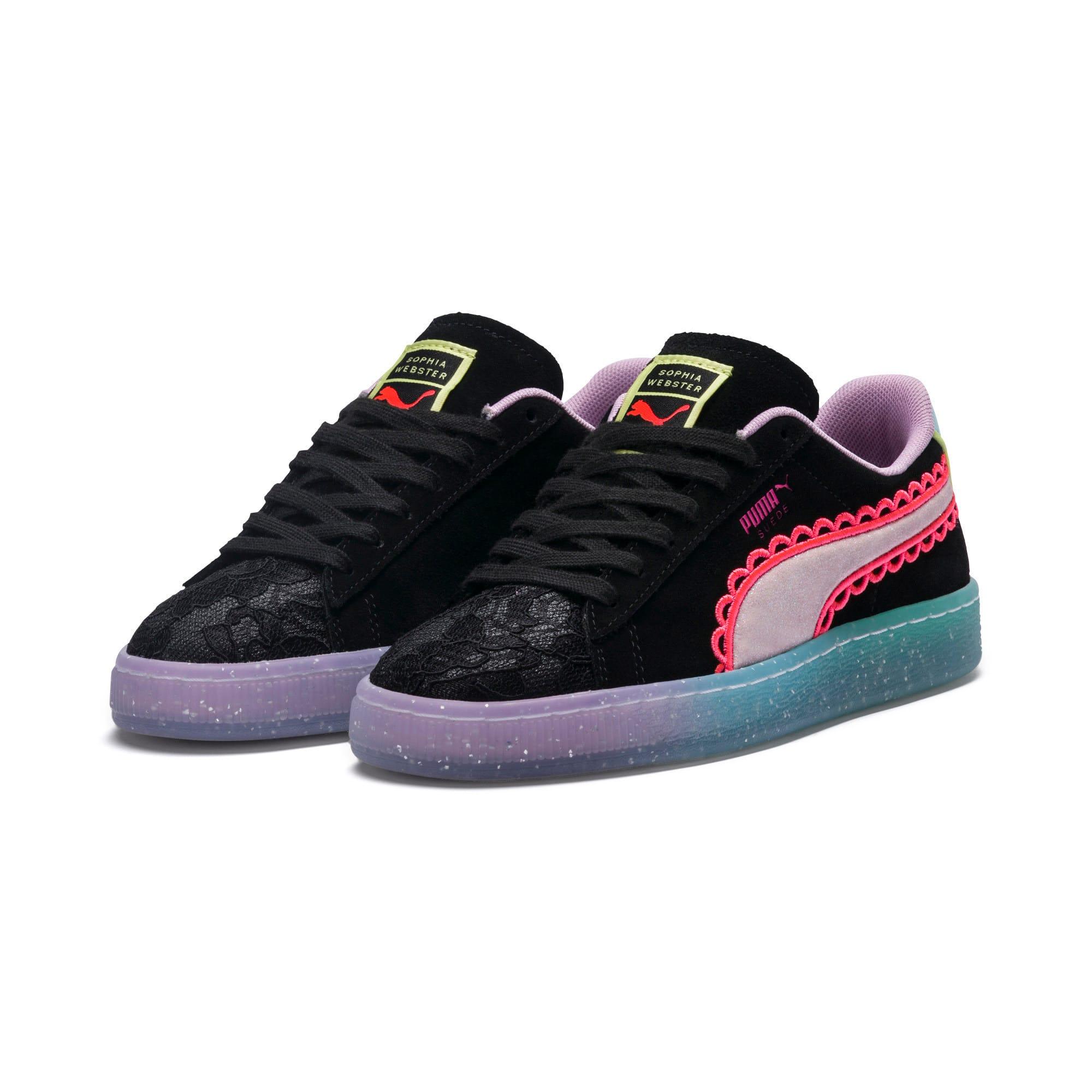 Thumbnail 3 of PUMA x SOPHIA WEBSTER Suede Women's Sneakers, Puma Black-Fiery Coral, medium