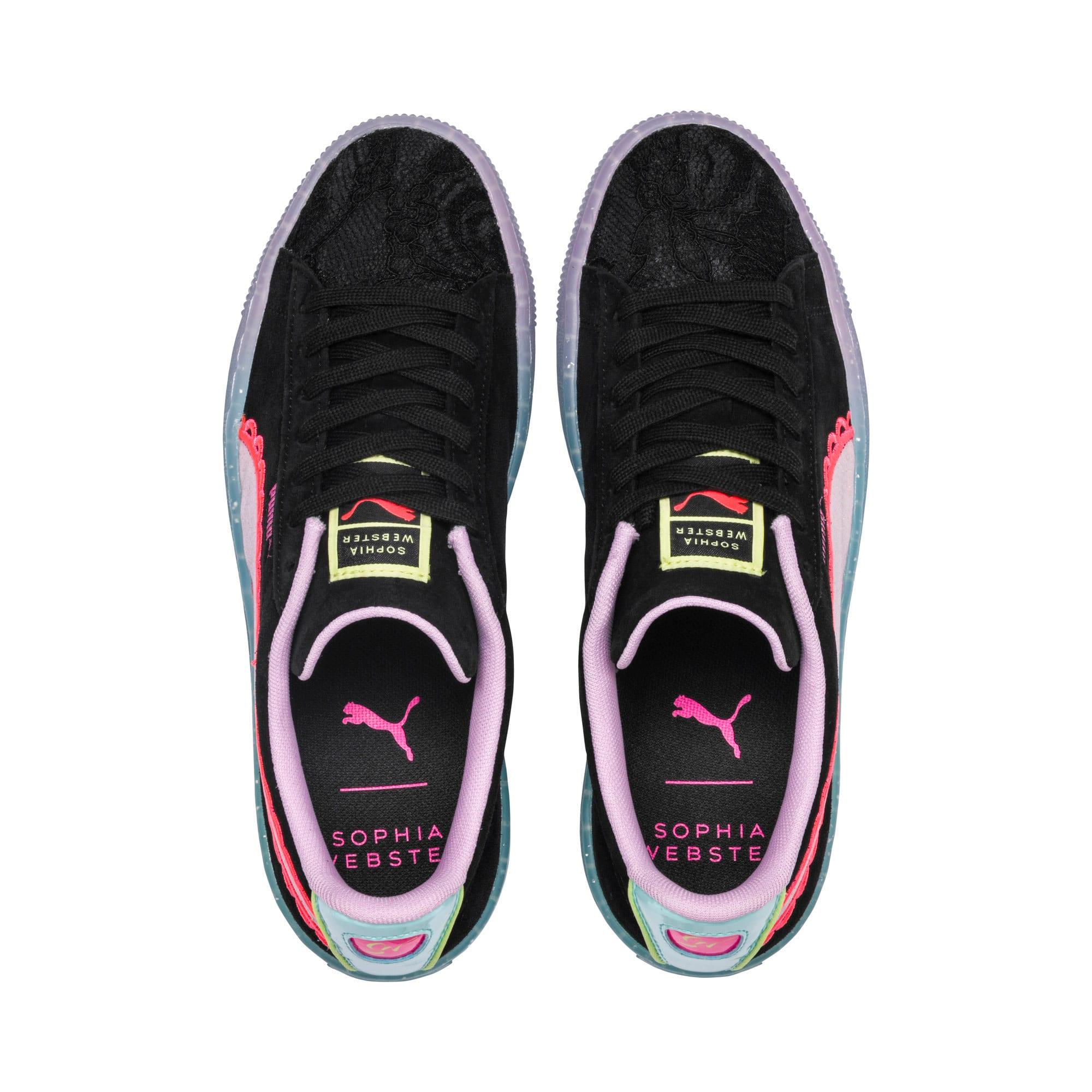 Miniatura 7 de Zapatos deportivosPUMA x SOPHIA WEBSTER Suede para mujer, Puma Black-Fiery Coral, mediano