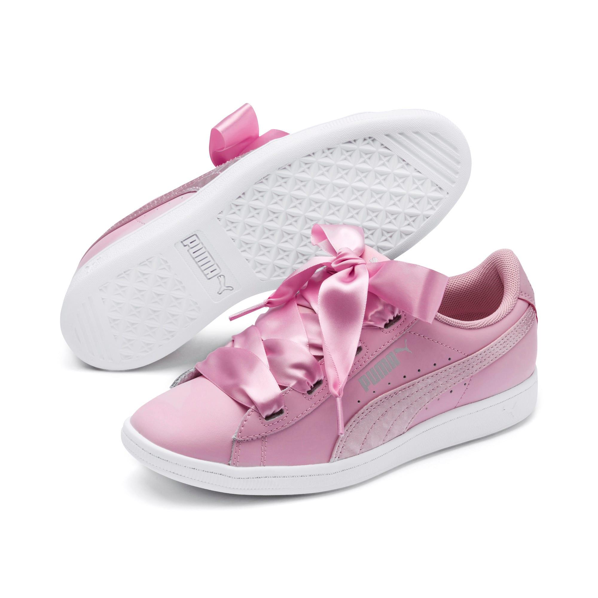 Thumbnail 2 of PUMA Vikky Ribbon Satin Sneakers JR, Pale Pink-Pale Pink, medium