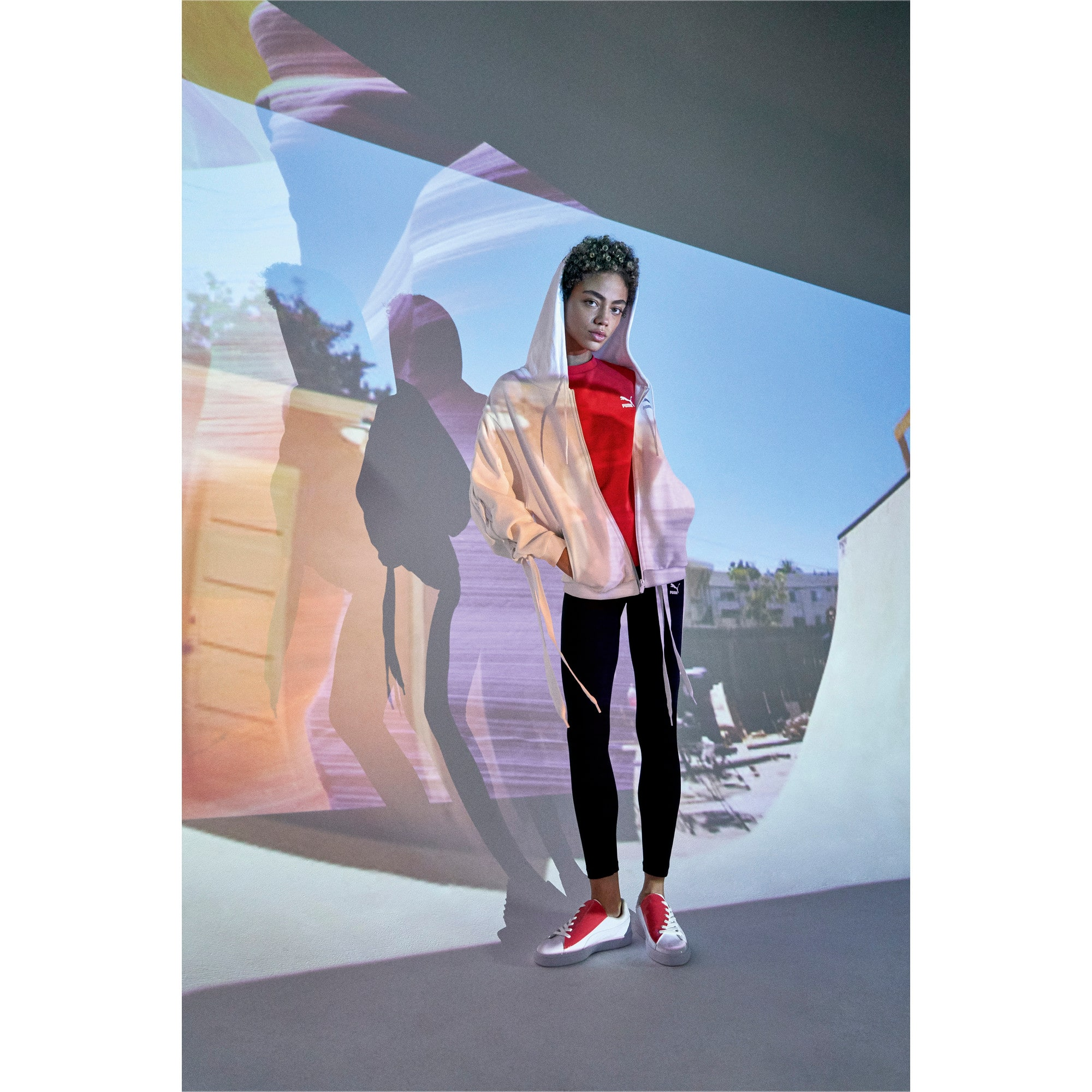 Thumbnail 10 of Basket Crush Women's Sneakers, Puma White-Hibiscus, medium