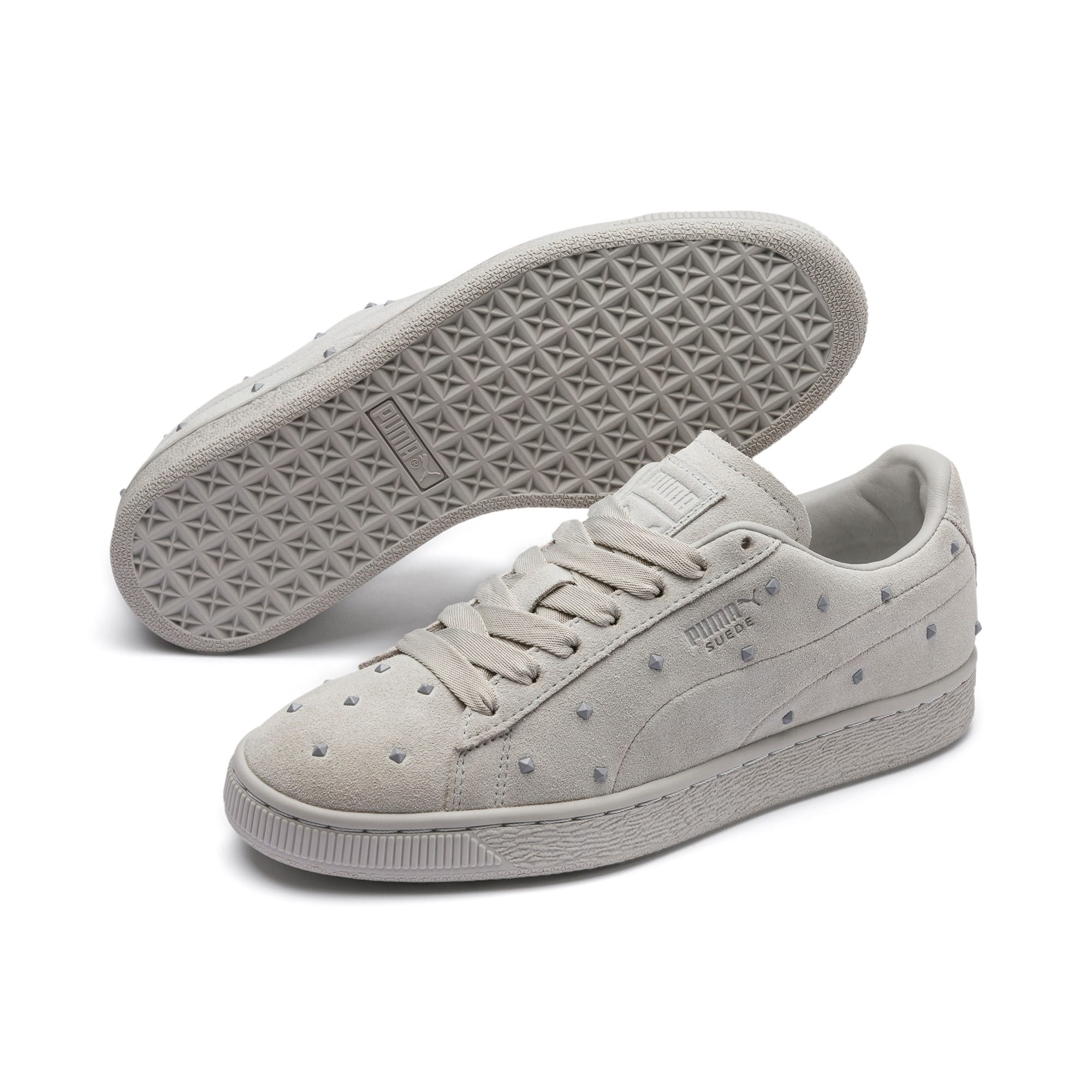 Thumbnail 3 of Suede Studs Women's Trainers, Gray Violet-Puma White, medium