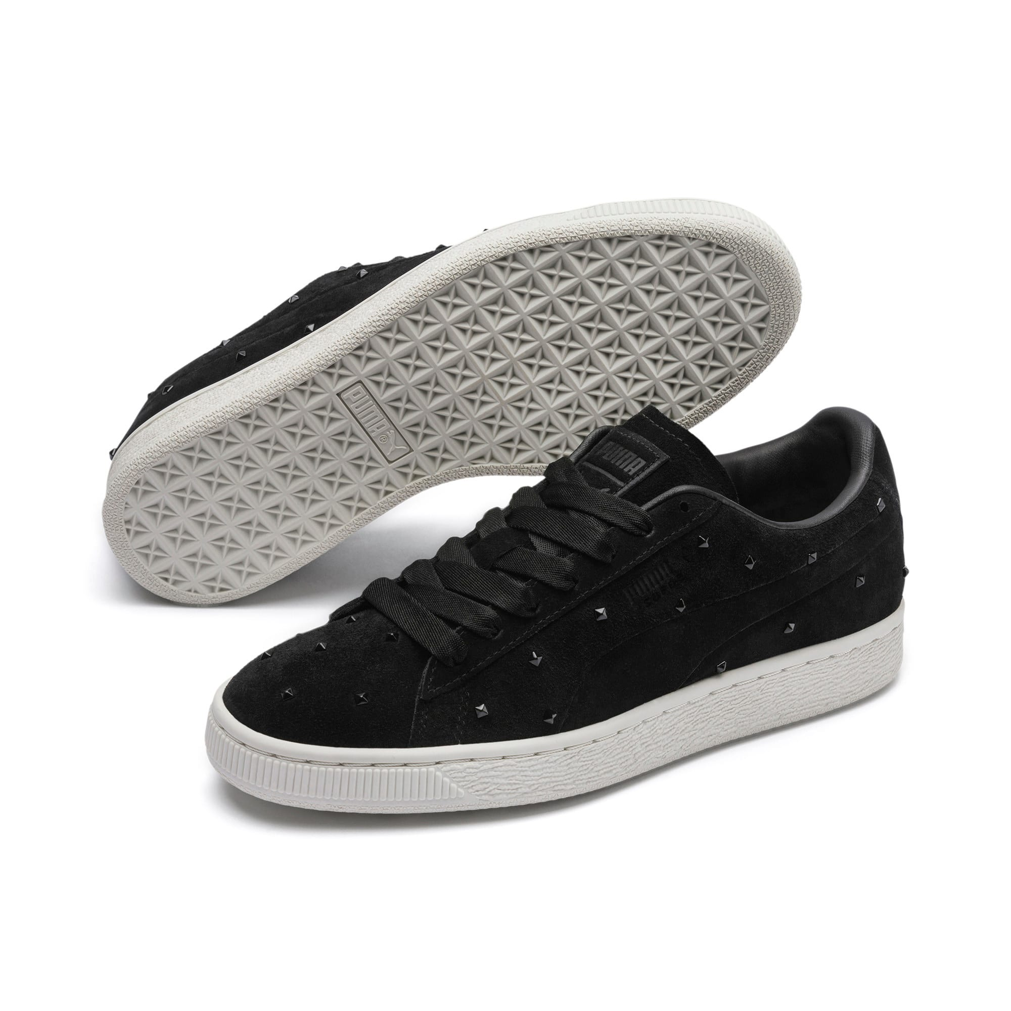 Thumbnail 3 of Suede Studs Women's Trainers, Puma Black-Marshmallow, medium