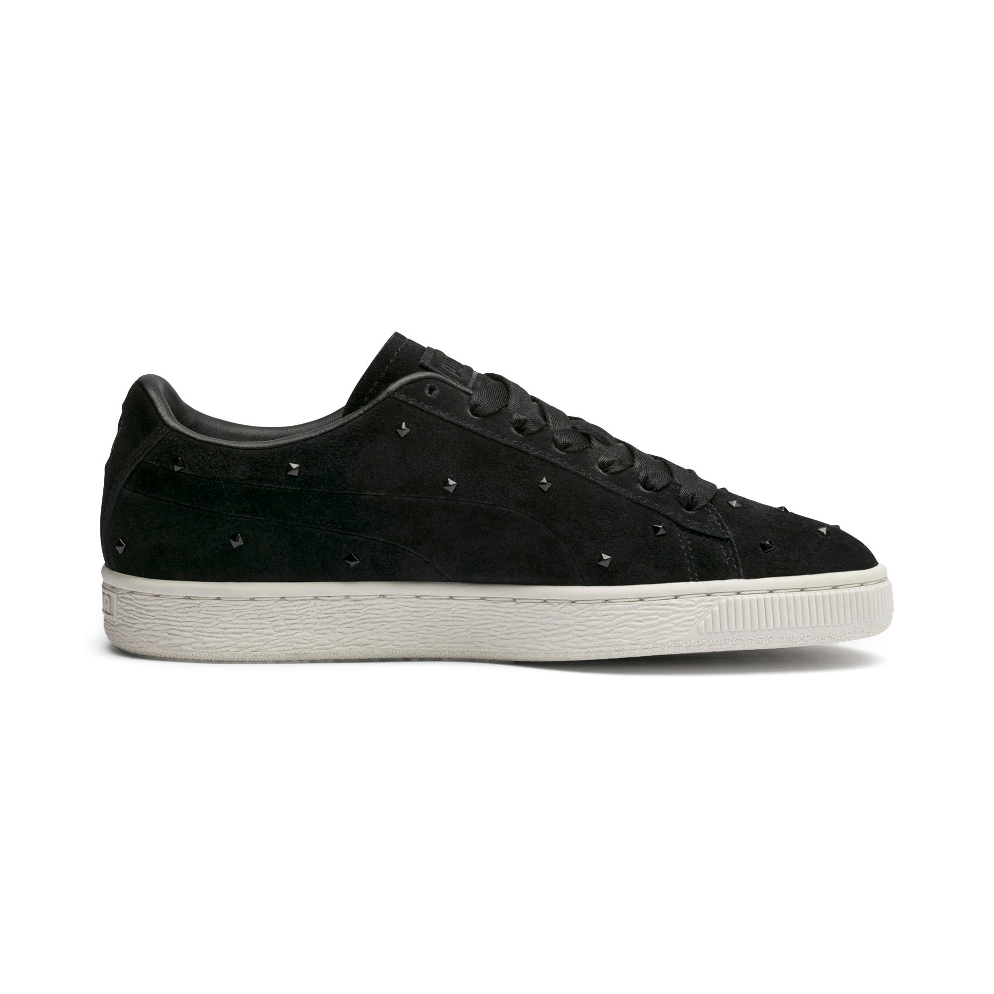 Thumbnail 6 of Suede Studs Women's Trainers, Puma Black-Marshmallow, medium