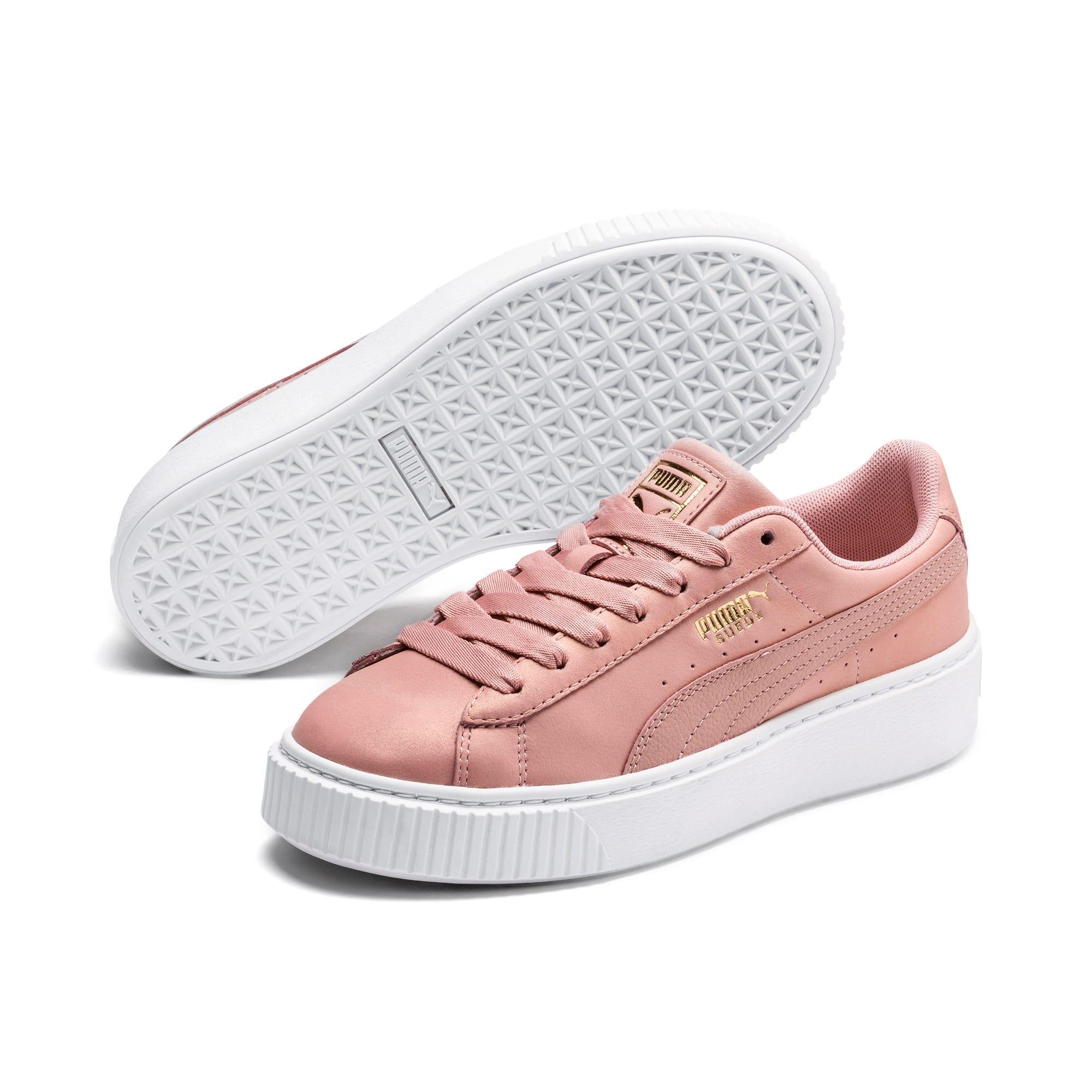 Thumbnail 3 of Suede Platform Shimmer Women's Sneakers, Bridal Rose-Puma White, medium