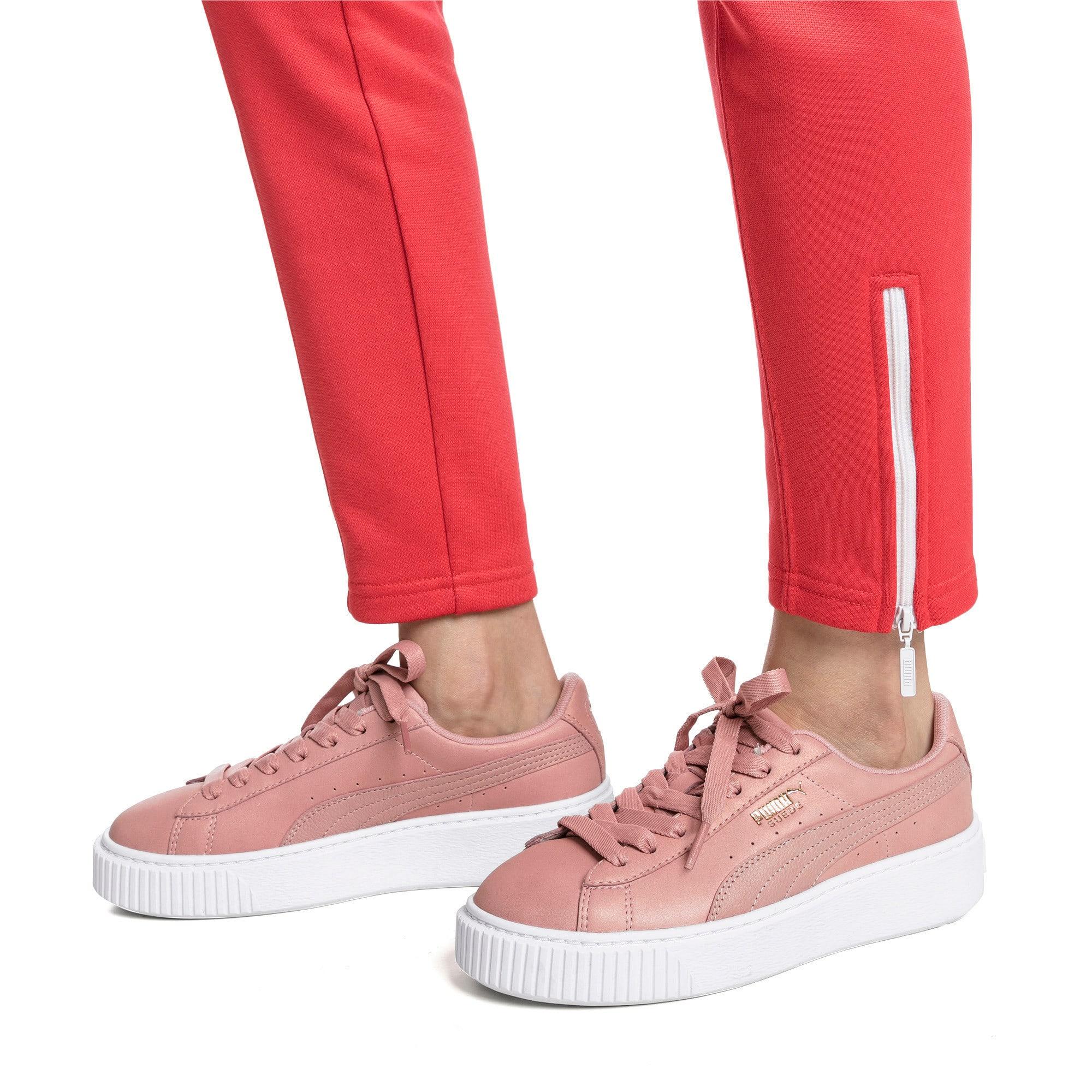 Thumbnail 2 of Suede Platform Shimmer Women's Sneakers, Bridal Rose-Puma White, medium