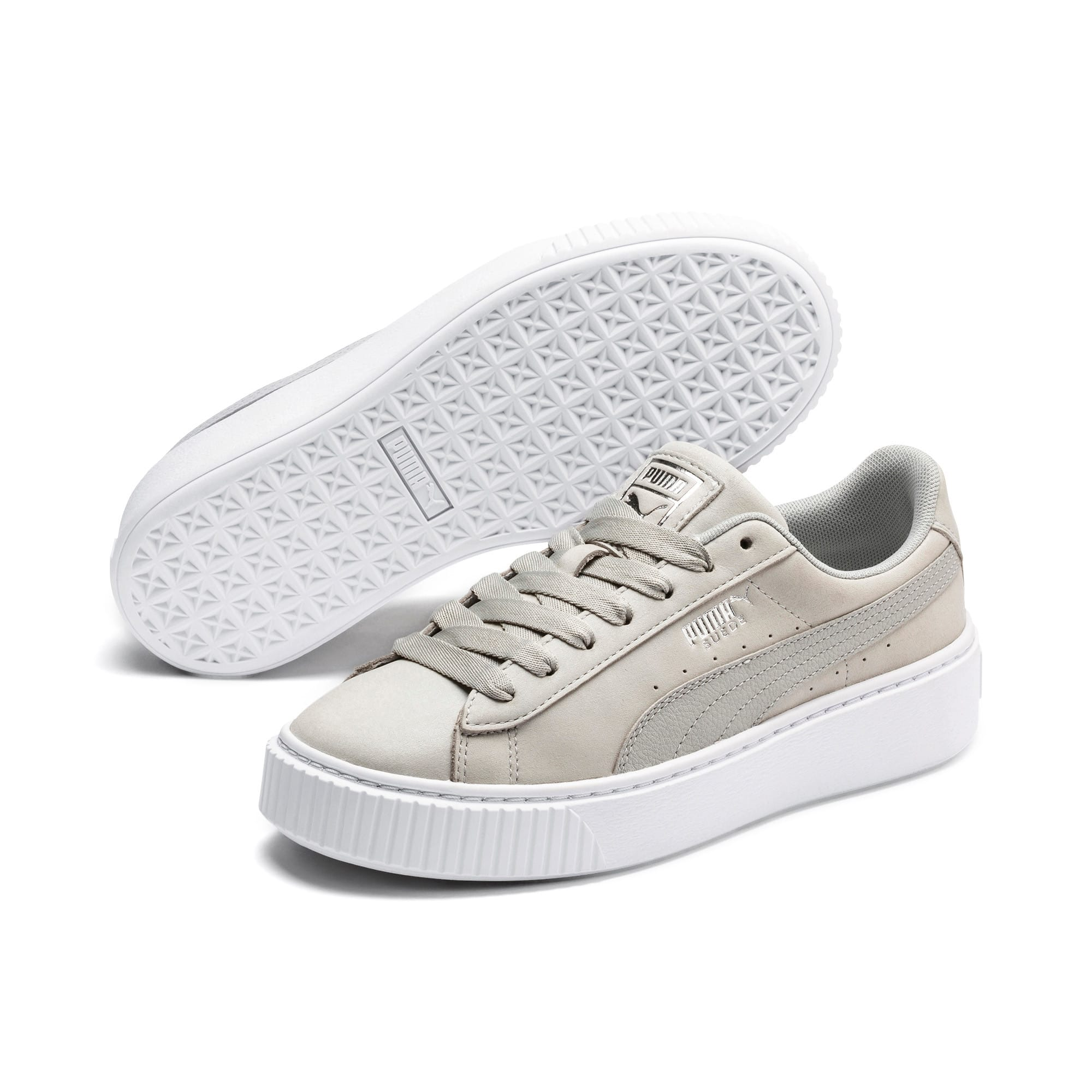 Thumbnail 3 of Suede Platform Shimmer Women's Sneakers, Gray Violet-Puma White, medium