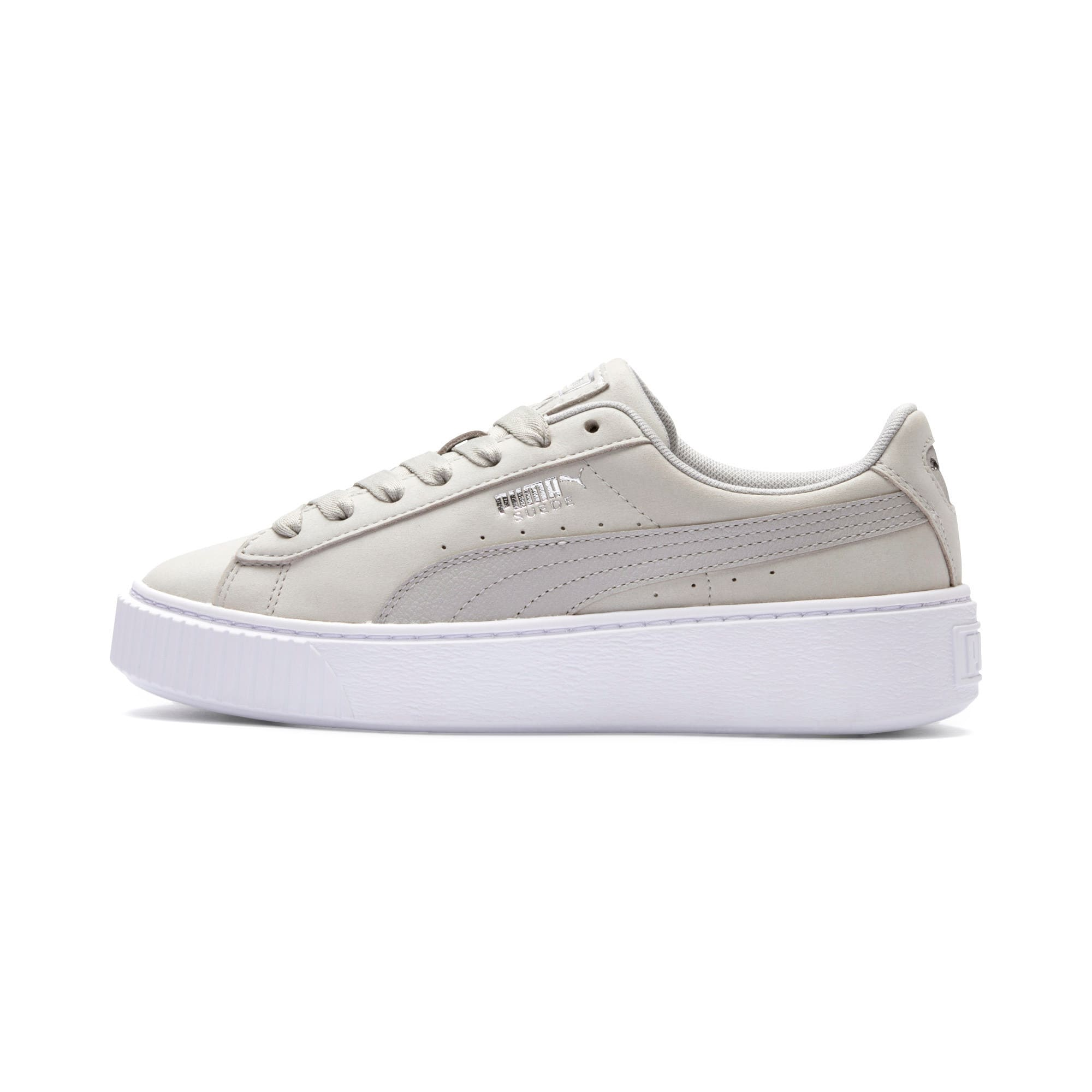 Thumbnail 1 of Suede Platform Shimmer Women's Sneakers, Gray Violet-Puma White, medium