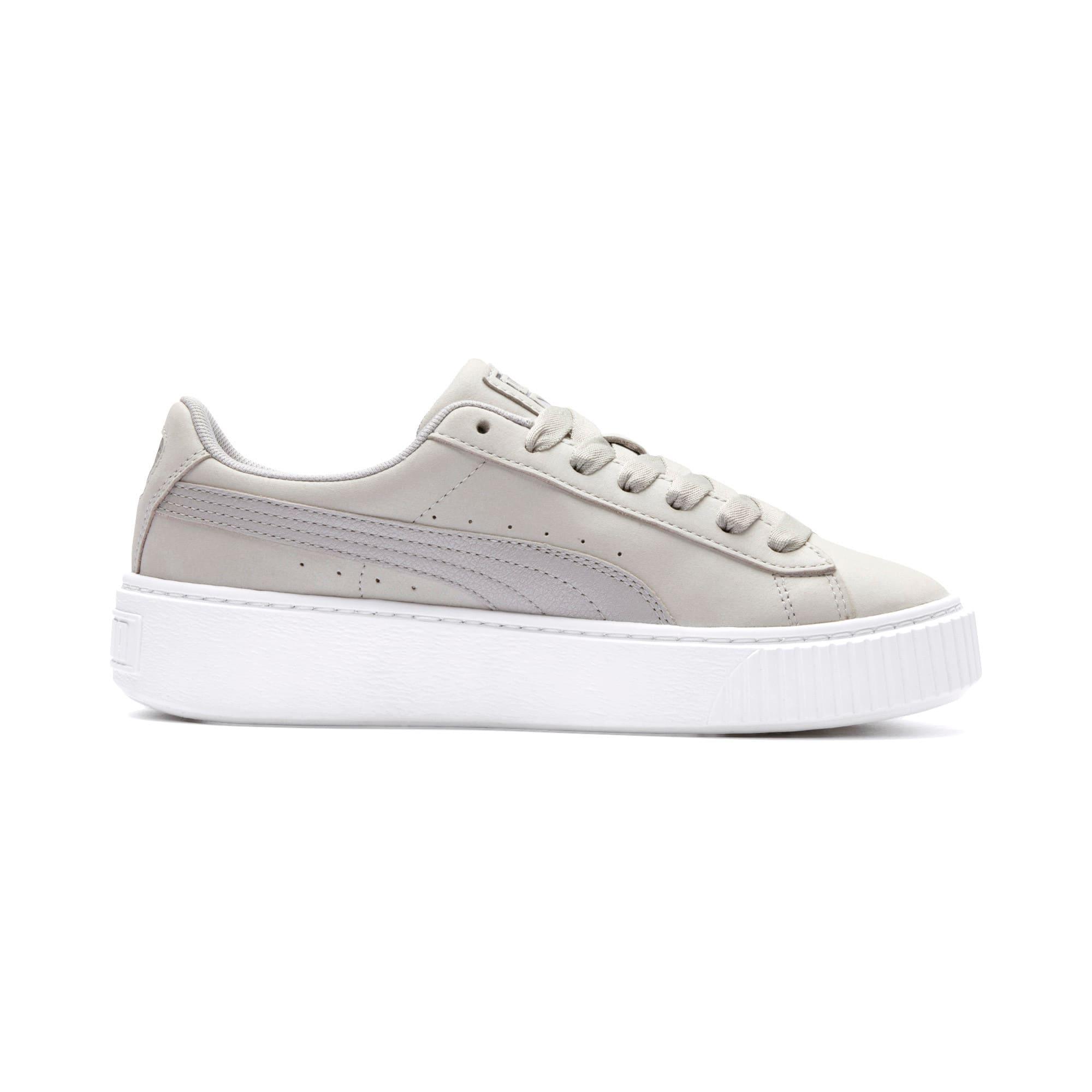 Thumbnail 6 of Suede Platform Shimmer Women's Sneakers, Gray Violet-Puma White, medium