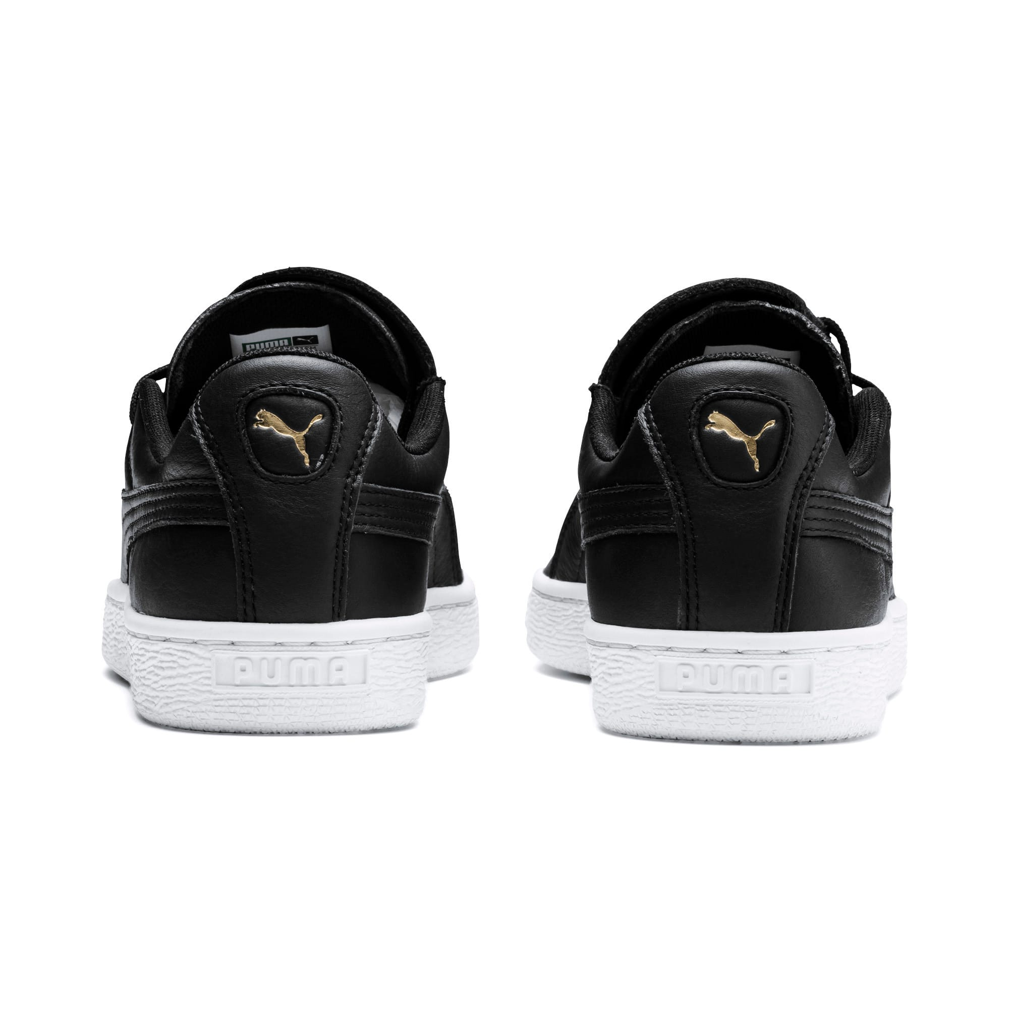 Thumbnail 3 of Basket Crush Emboss Heart Women's Sneakers, Puma Black-Puma Team Gold, medium