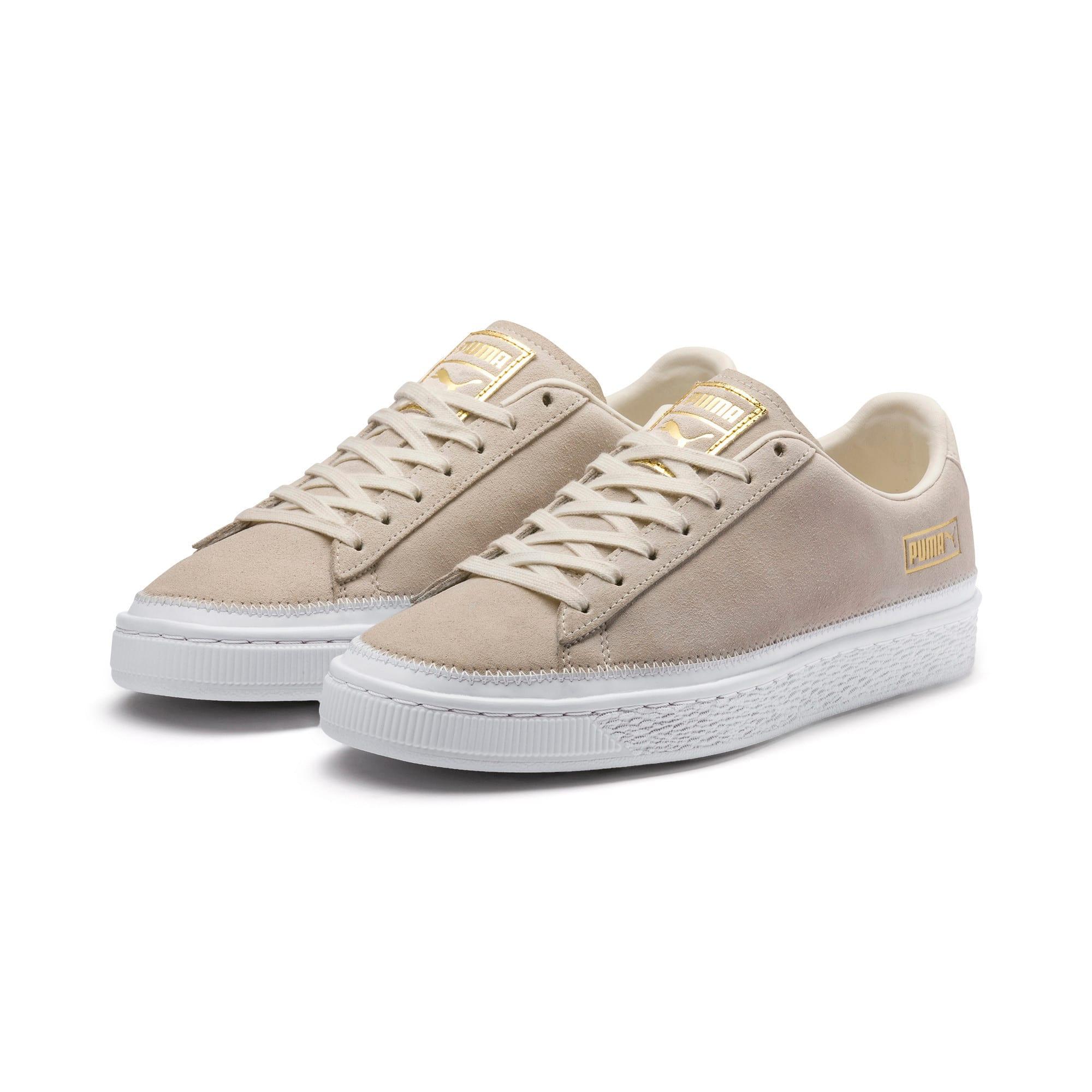 Thumbnail 3 of Suede Trim Sneaker, Whisper White-White- Gold, medium