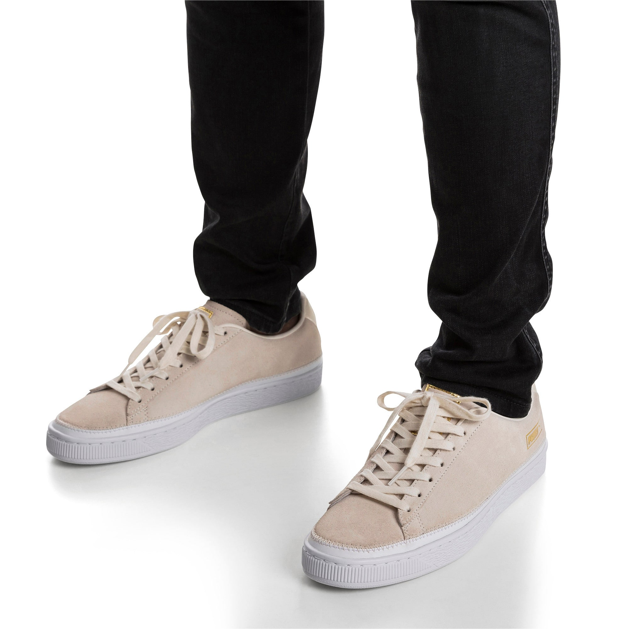 Thumbnail 2 of Suede Trim Sneaker, Whisper White-White- Gold, medium