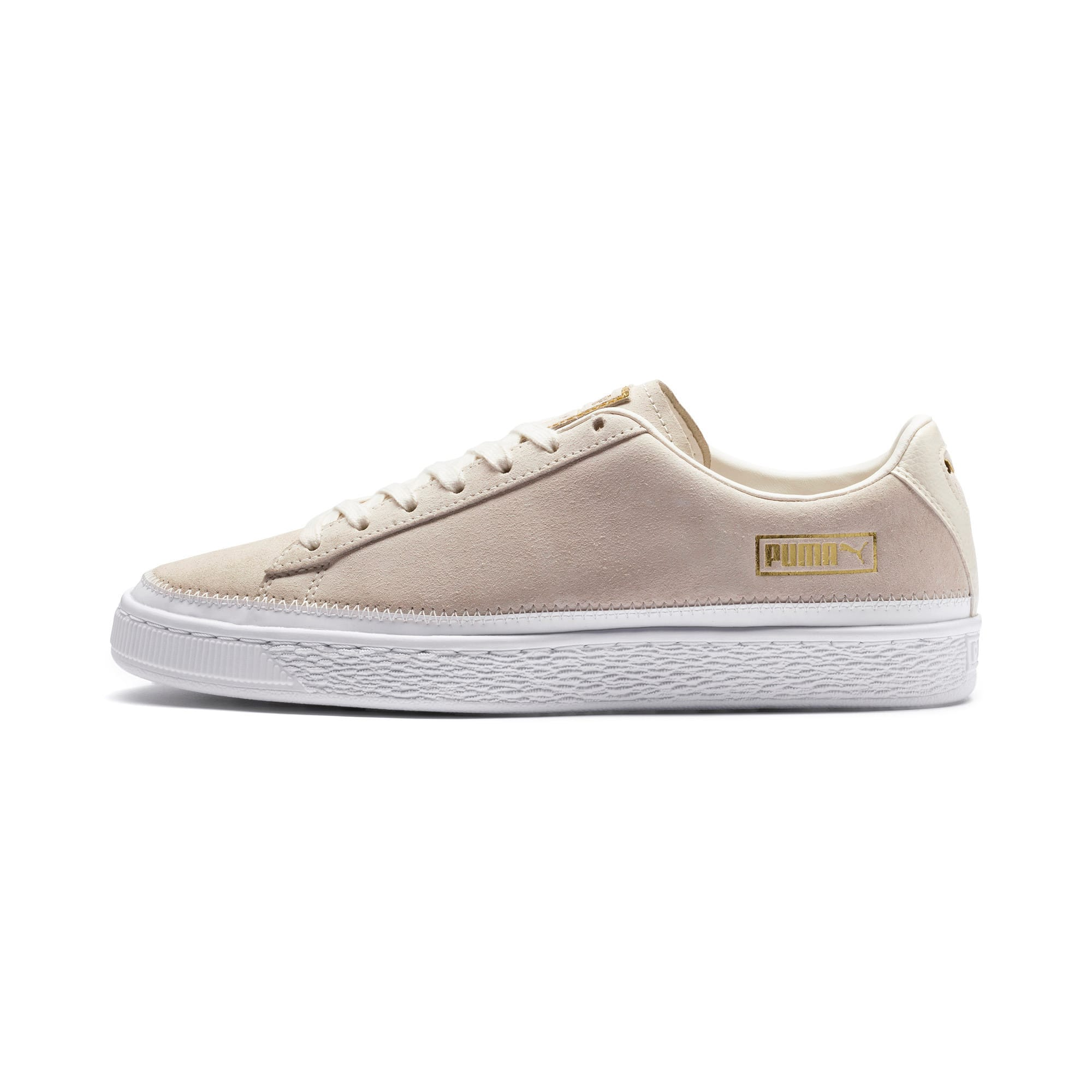 Thumbnail 1 of Suede Trim Sneaker, Whisper White-White- Gold, medium