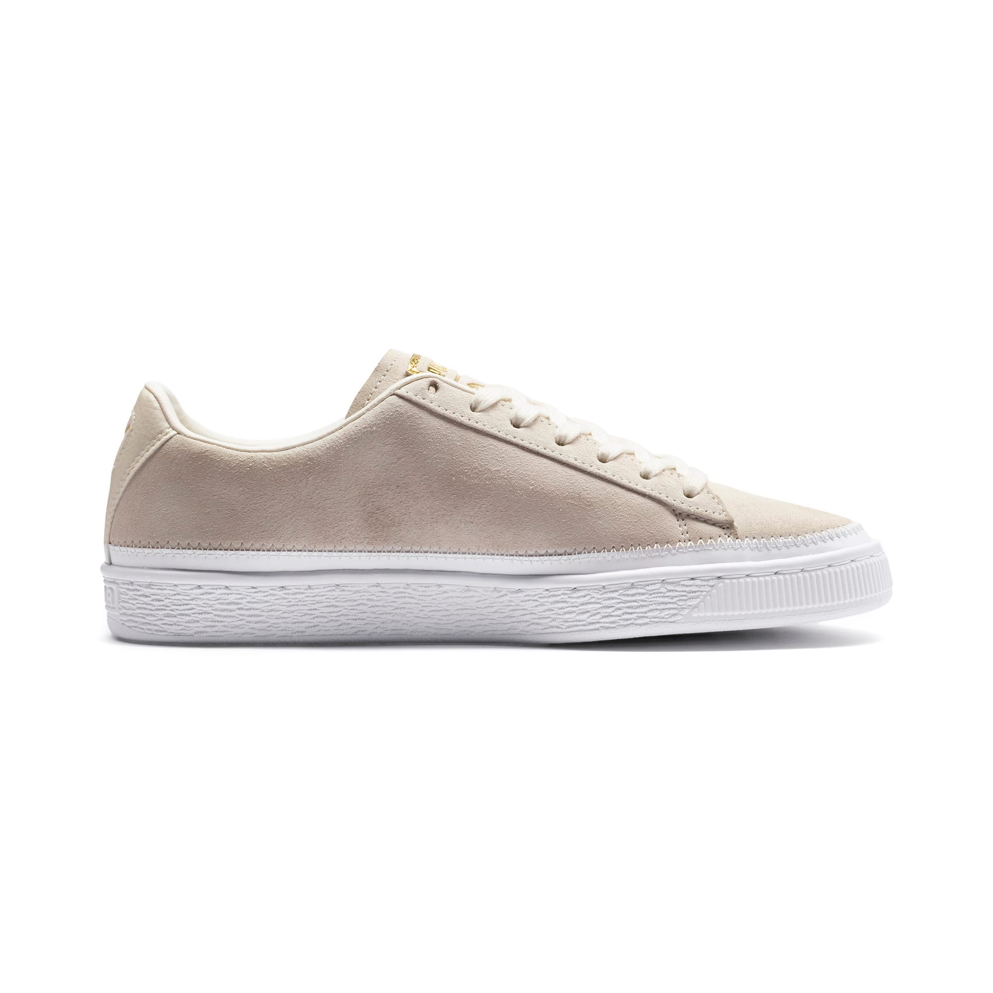 Thumbnail 6 of Suede Trim Sneaker, Whisper White-White- Gold, medium