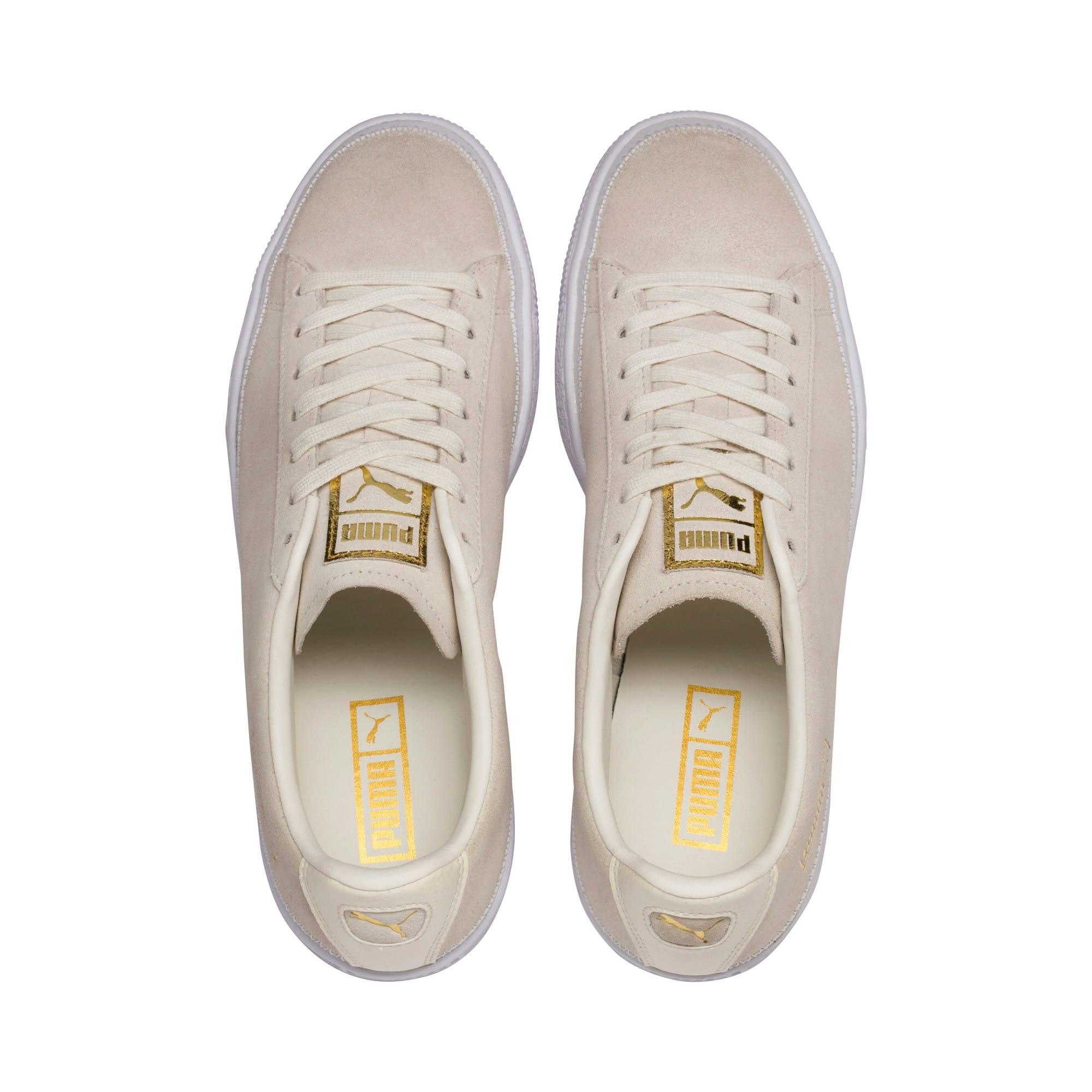 Thumbnail 7 of Suede Trim Sneaker, Whisper White-White- Gold, medium